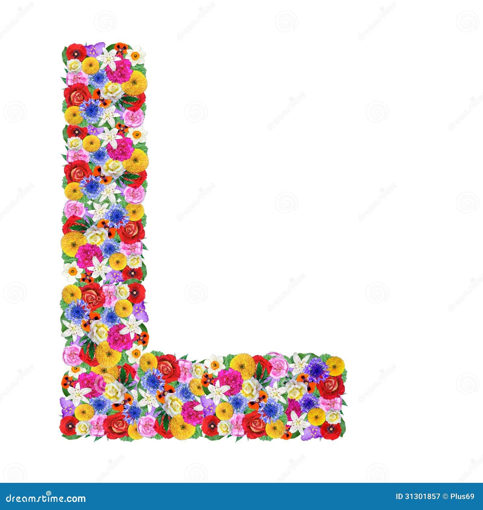 lettre de l L, Lettre De L'alphabet Dans Différentes Fleurs Image stock  lettre de l
