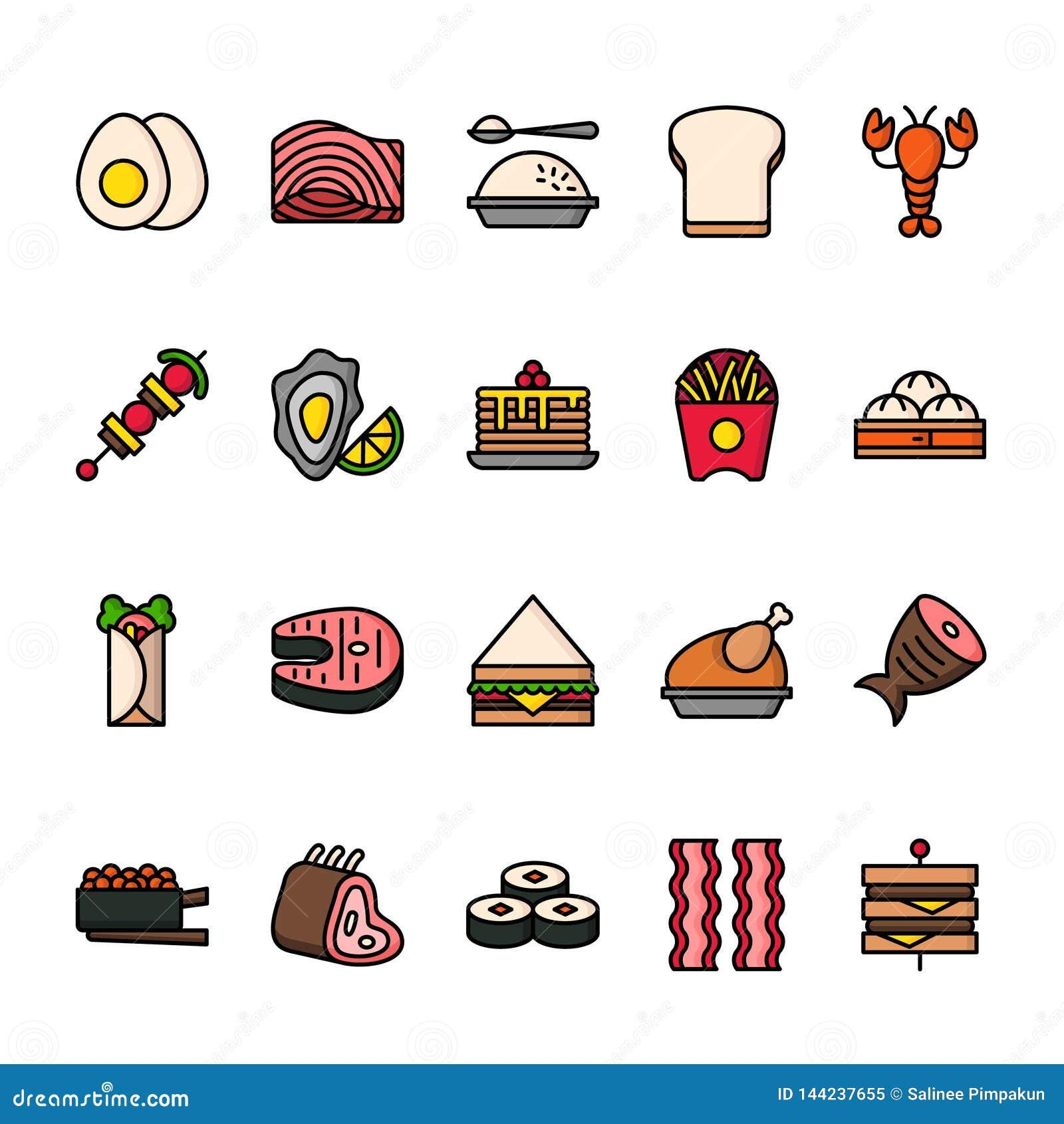 L?nea de color sistema del icono de la comida Iconos perfectos del pixel