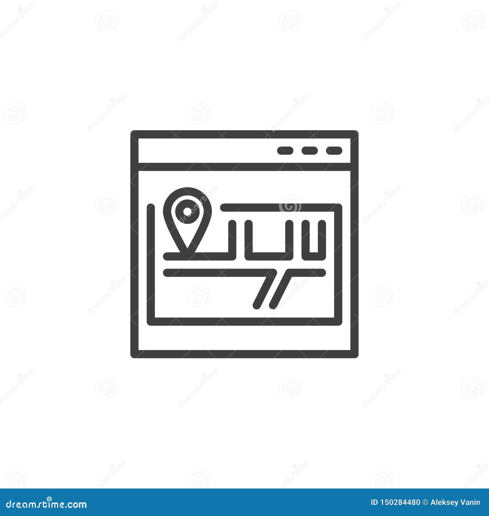 L?nea icono del mapa de sitio