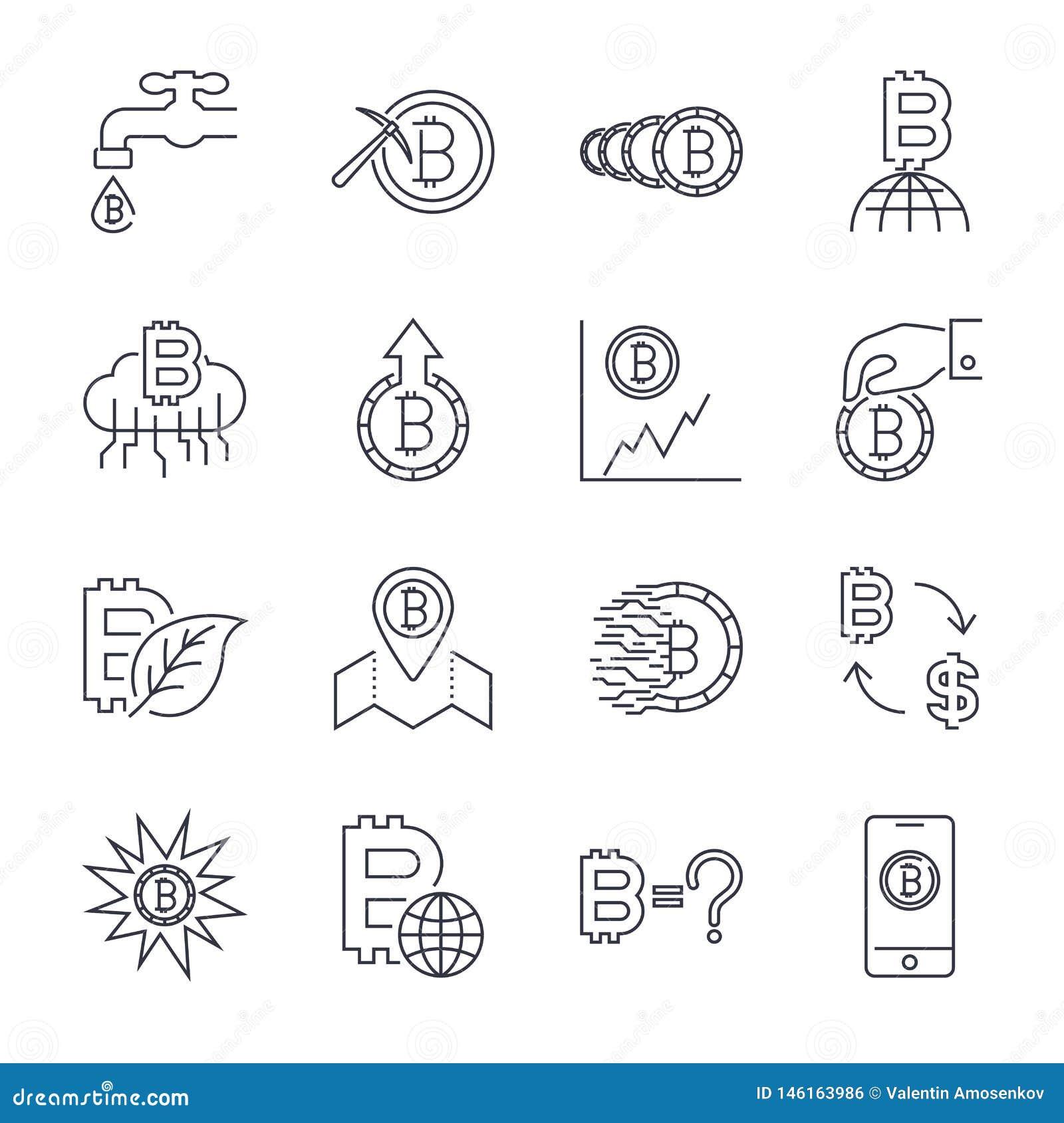 L?nea iconos de Cryptocurrency fijados Colecci?n del vector de s?mbolos finos de las finanzas de Bitcoin del esquema Movimiento E