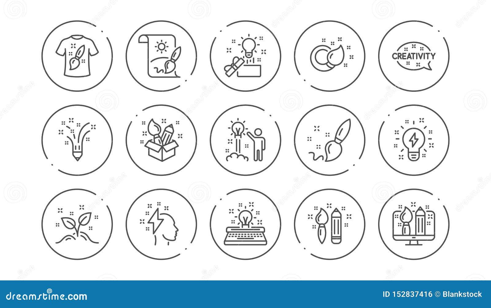 L?nea iconos de la creatividad Dise?ador creativo, idea e inspiraci?n Sistema linear del icono Vector
