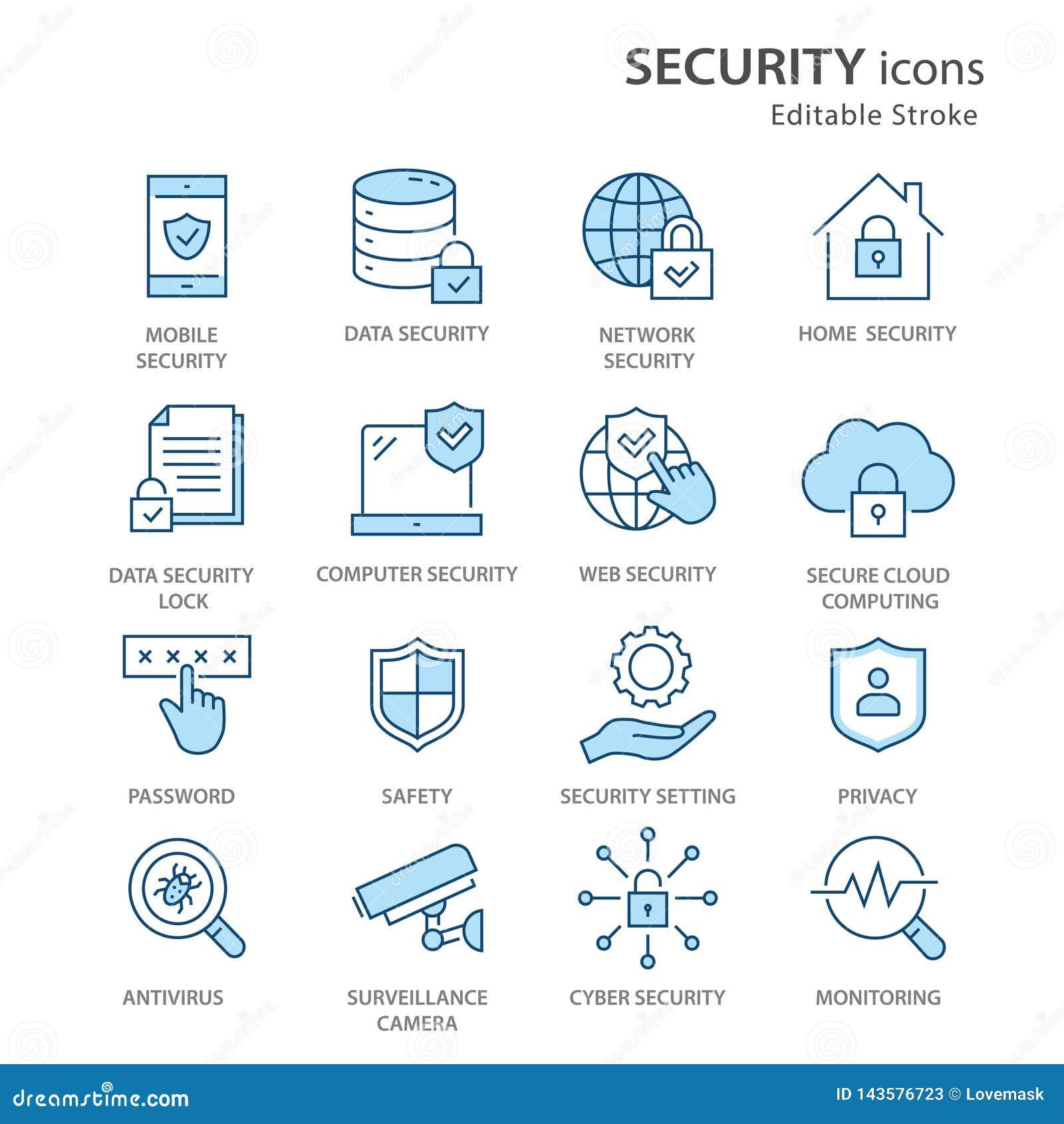 L?nea plana sistema de la seguridad del icono Ilustraci?n del vector Movimiento Editable