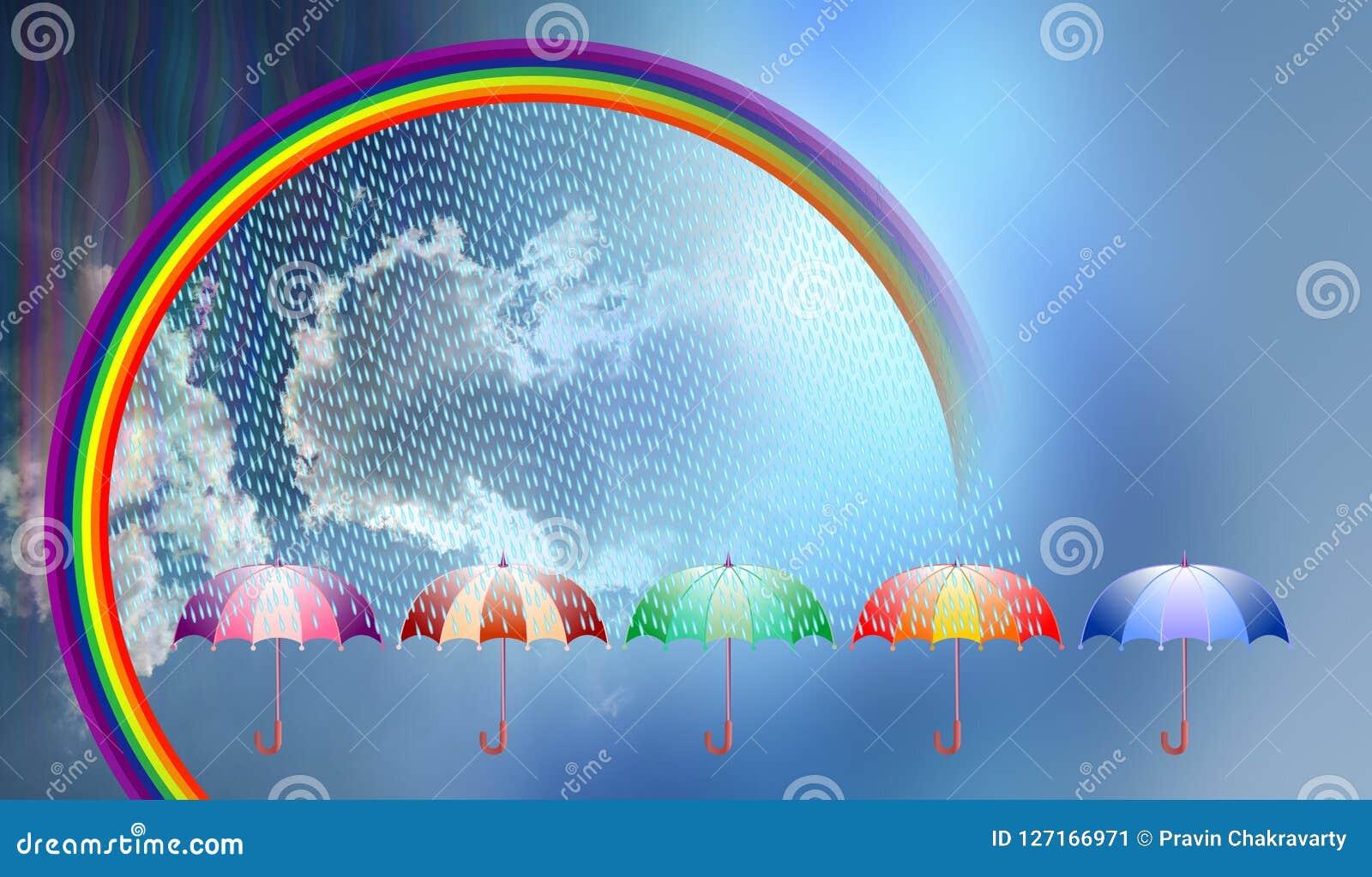 L ombrello del giorno piovoso, arcobaleno, si appanna il fondo di vettore Illustrazione di vettore