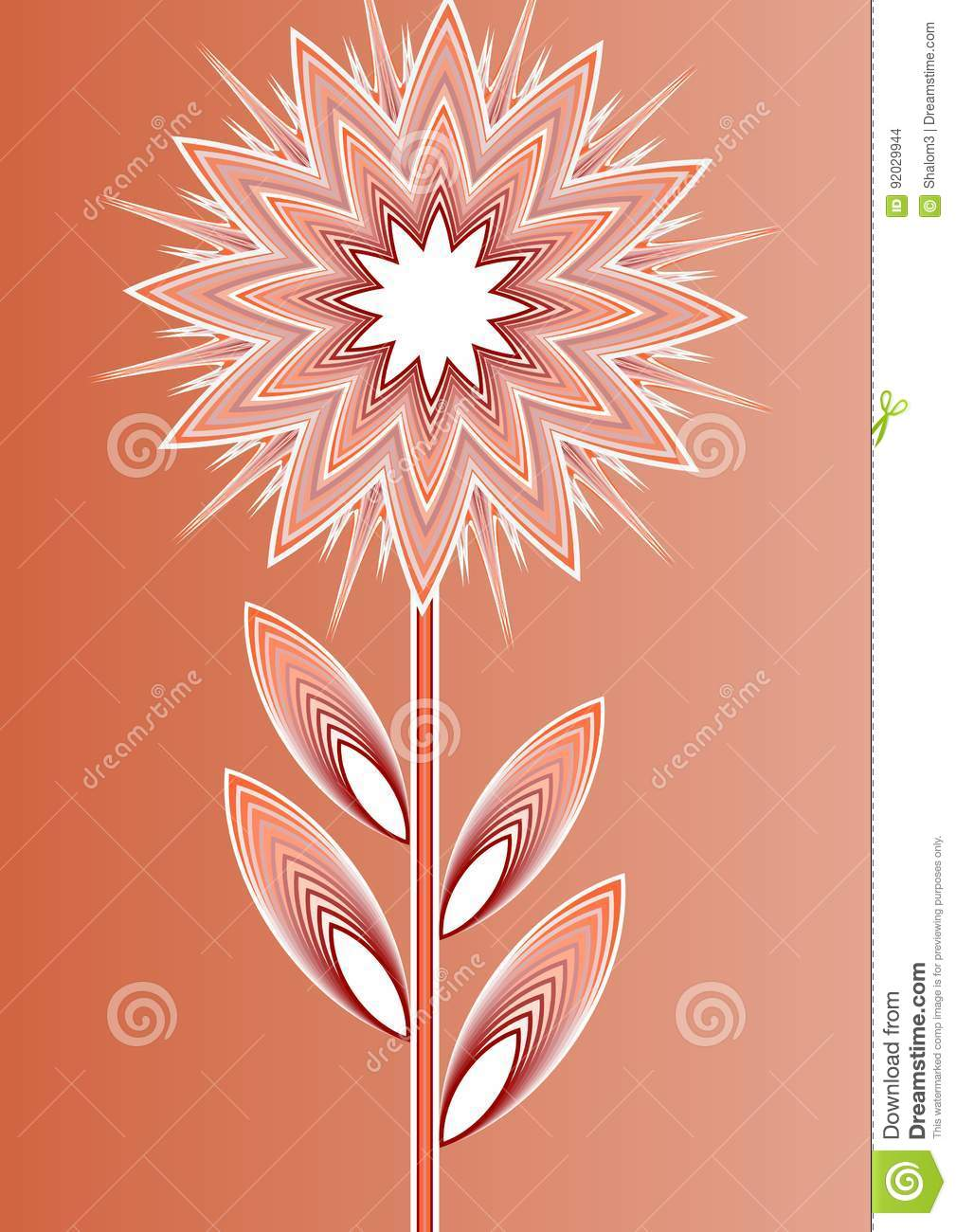 L orange a isolé la fleur d imagination sur le fond de gradient, l illustration de schéma, calibre pour l affiche, invitation