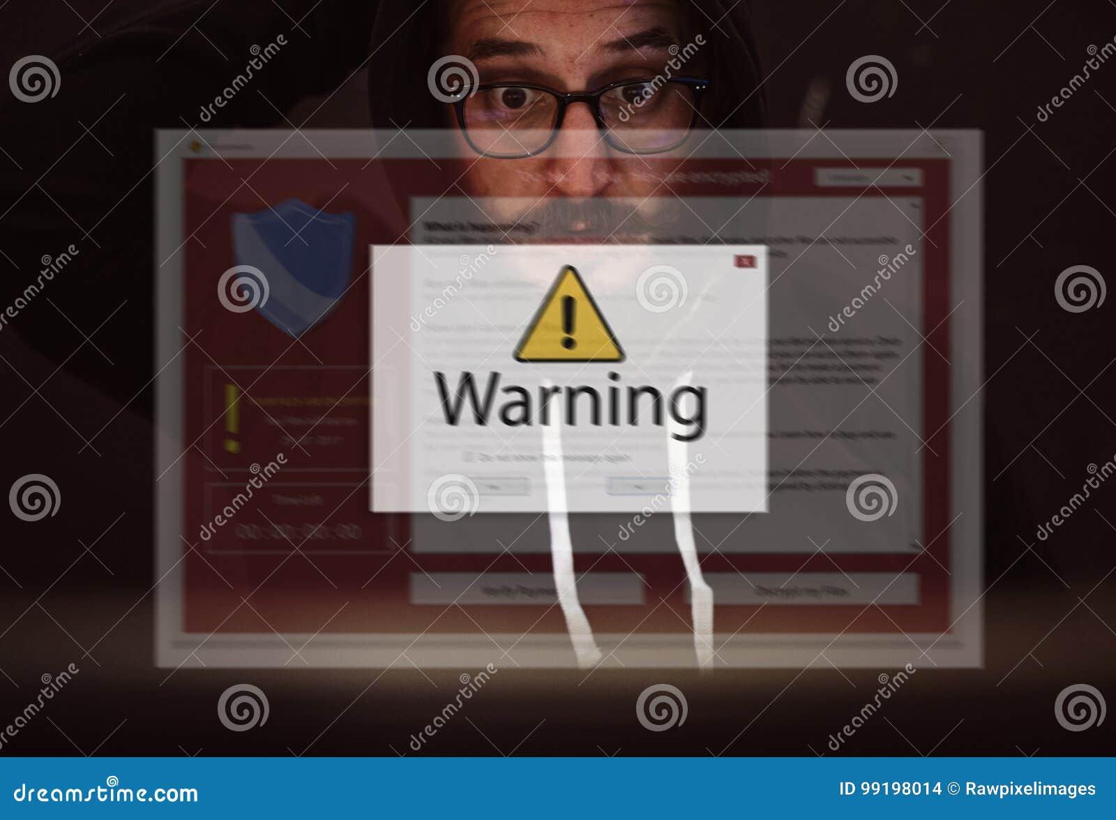 L ordinateur portable d ordinateur avec l avertissement d entaille sautent