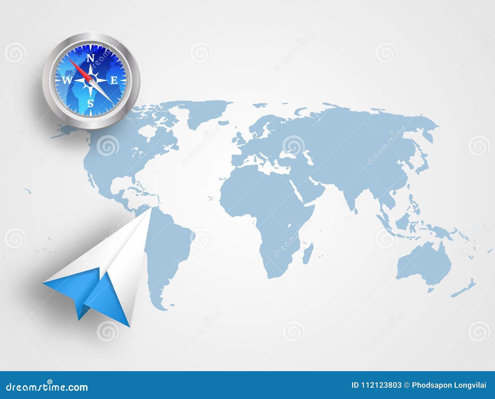 Carte Du Monde Origami.L Origami Avion Et Boussole Sur La Carte Du Monde Comme Fond