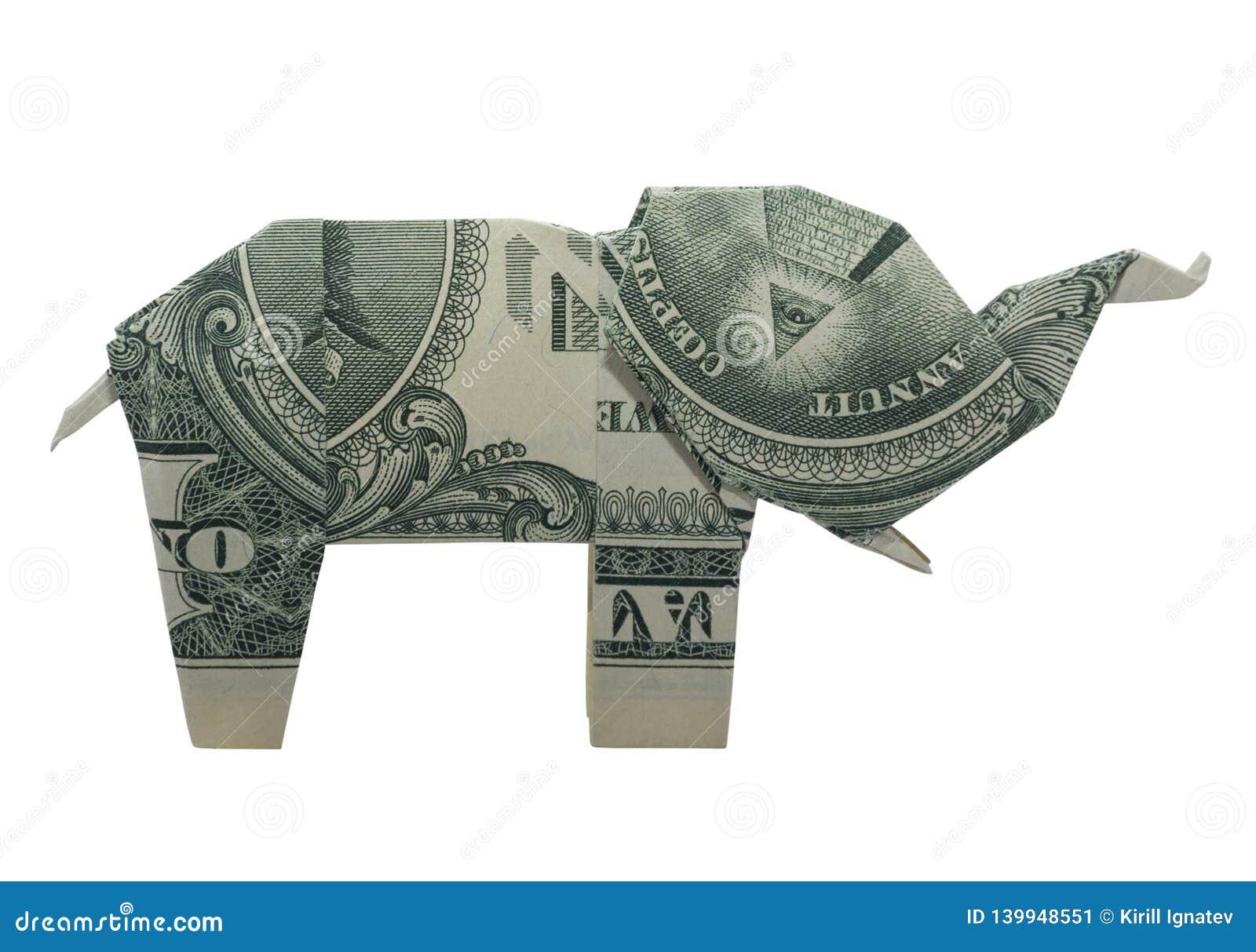 L origami d argent observe l ÉLÉPHANT s est plié avec le vrai un dollar Bill Isolated sur le fond blanc