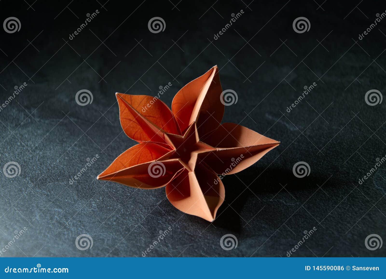 L origami fleurit la fleur - art de papier sur le fond texturis?