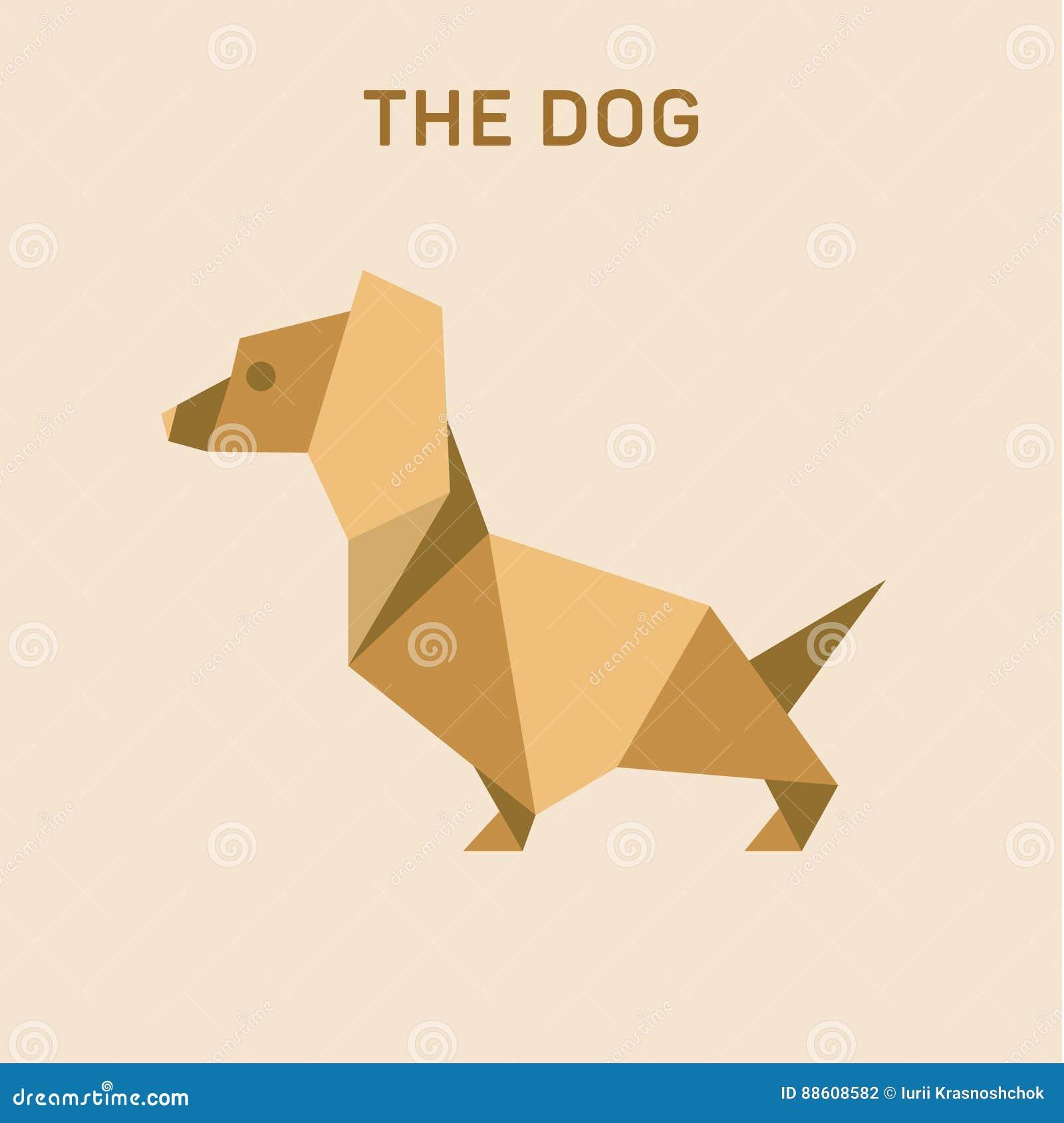 L origami plat de basset de chien de teckel dirige l illustration, bas poly
