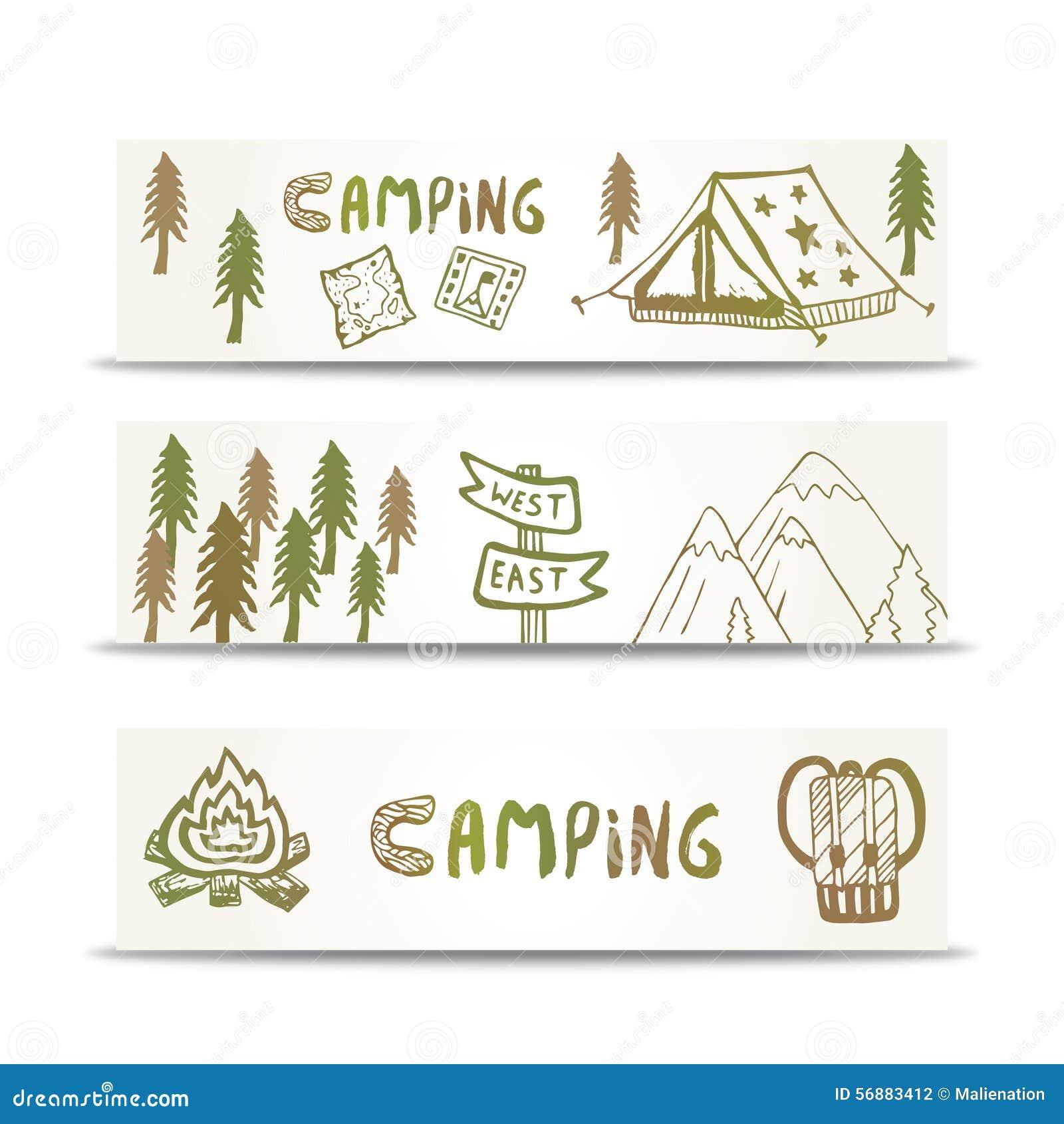 L orizzontale di campeggio delle insegne ha messo con la montagna e la tenda Elementi disegnati a mano sul modello di progettazio