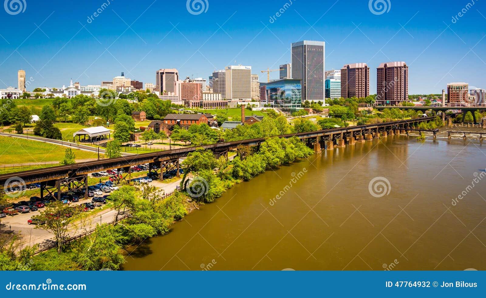 L orizzonte e James River a Richmond, la Virginia