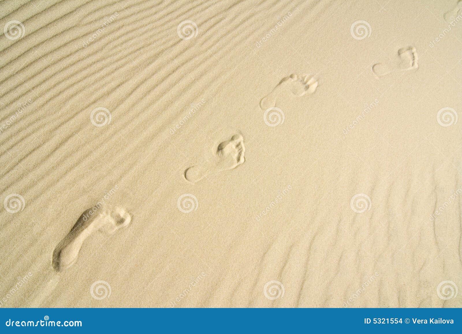 Download L'orma in sabbia fotografia stock. Immagine di limite - 5321554