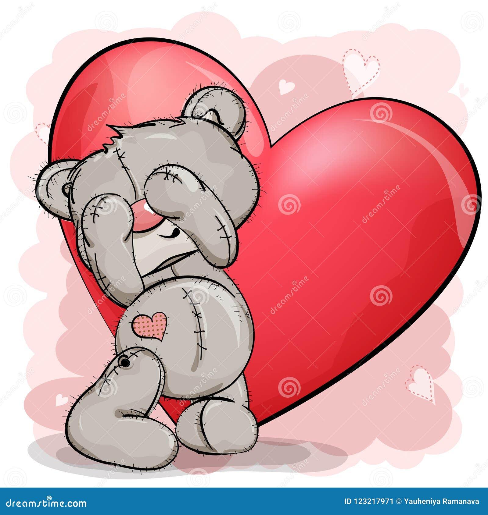 L orsacchiotto sta con il suo osserva chiuso e lui un grande rosso