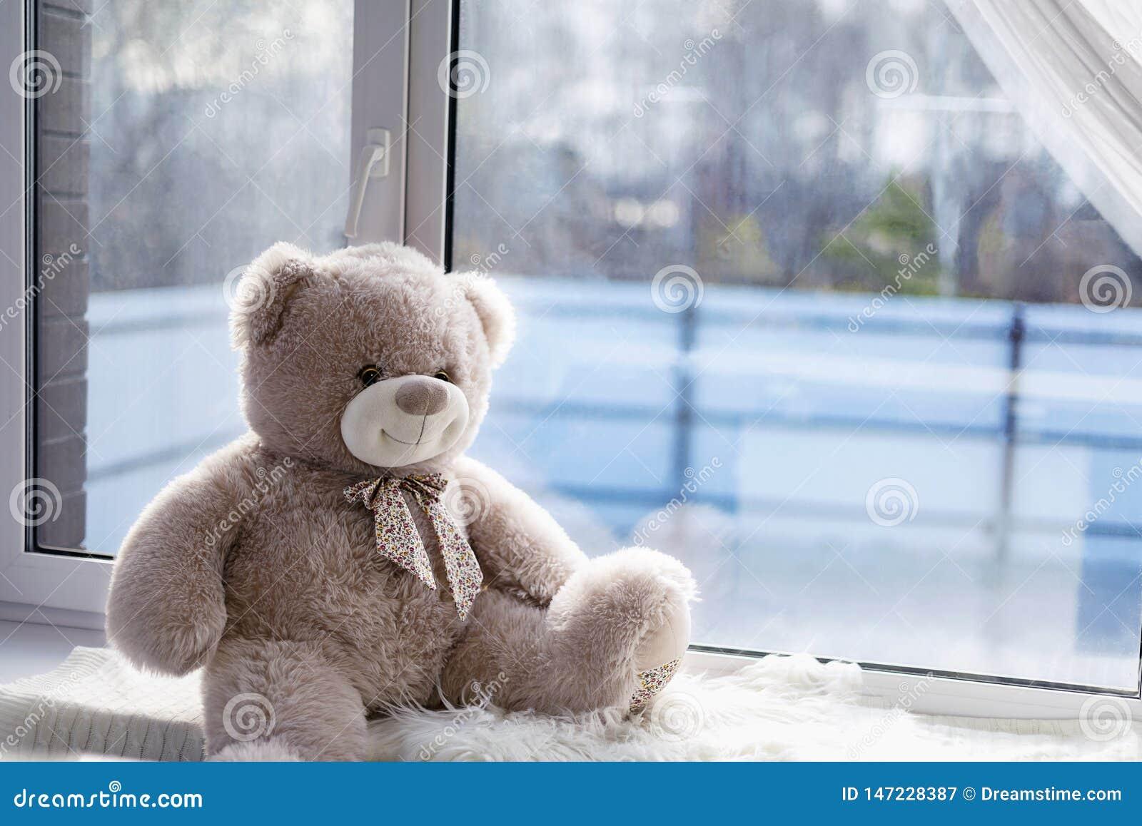 L ours de jouet se repose sur une fenêtre