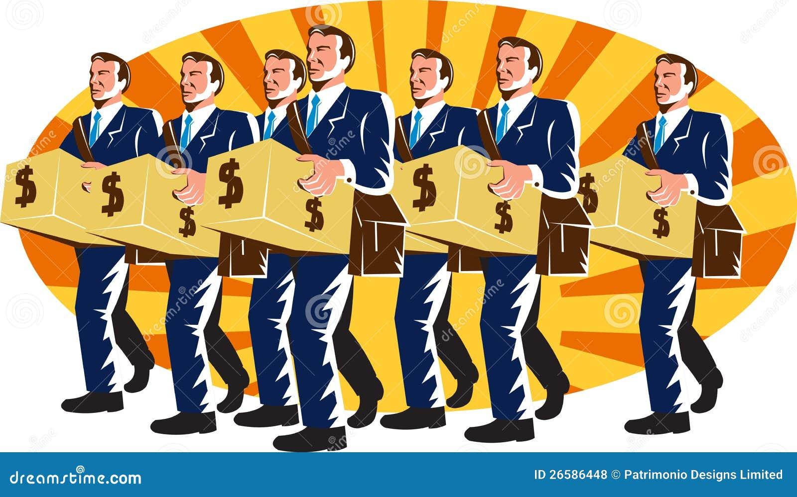 L ouvrier de banquier d homme d affaires portent la tirelire rétro