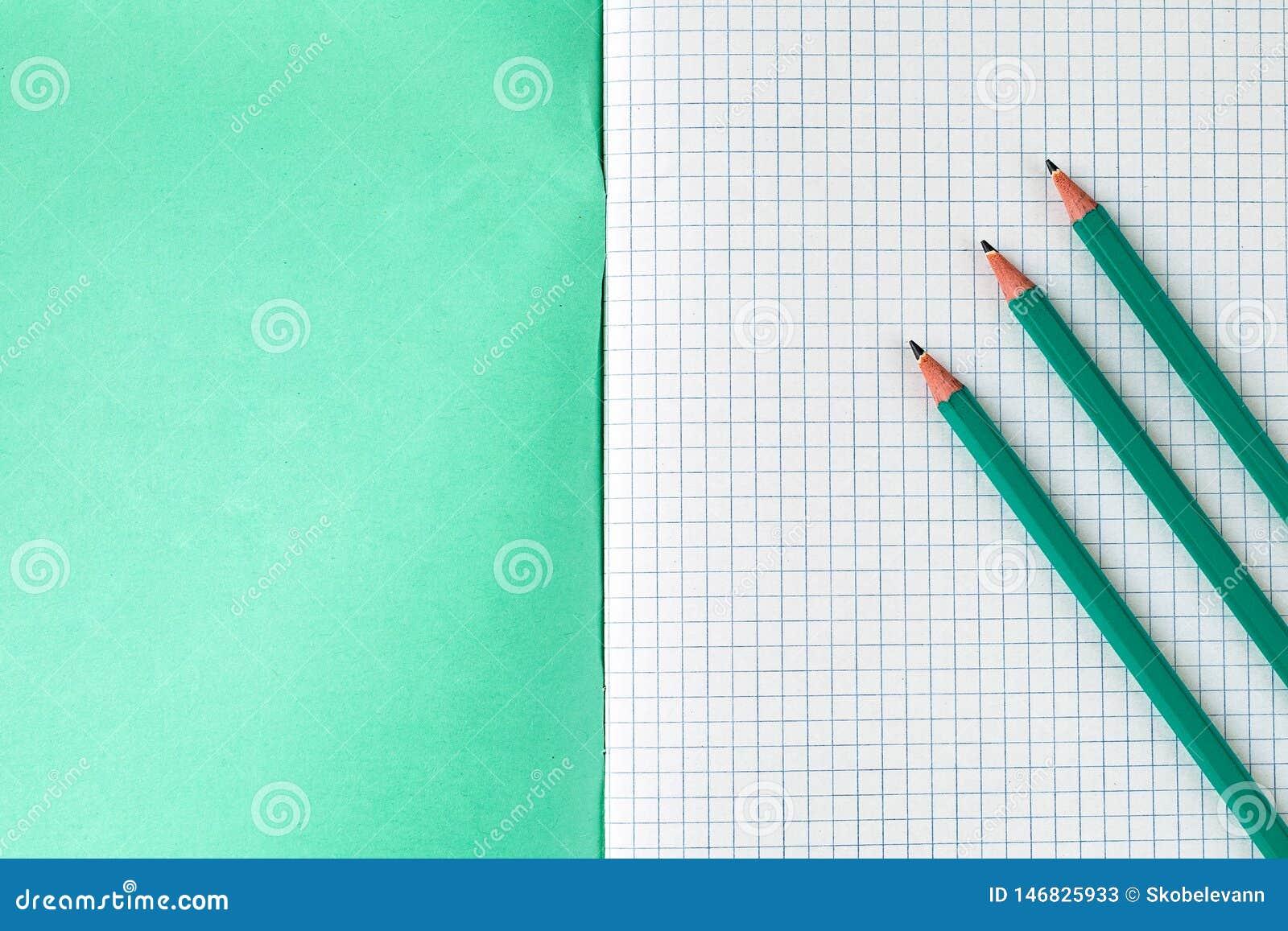 L?pis ao lado do caderno da escola
