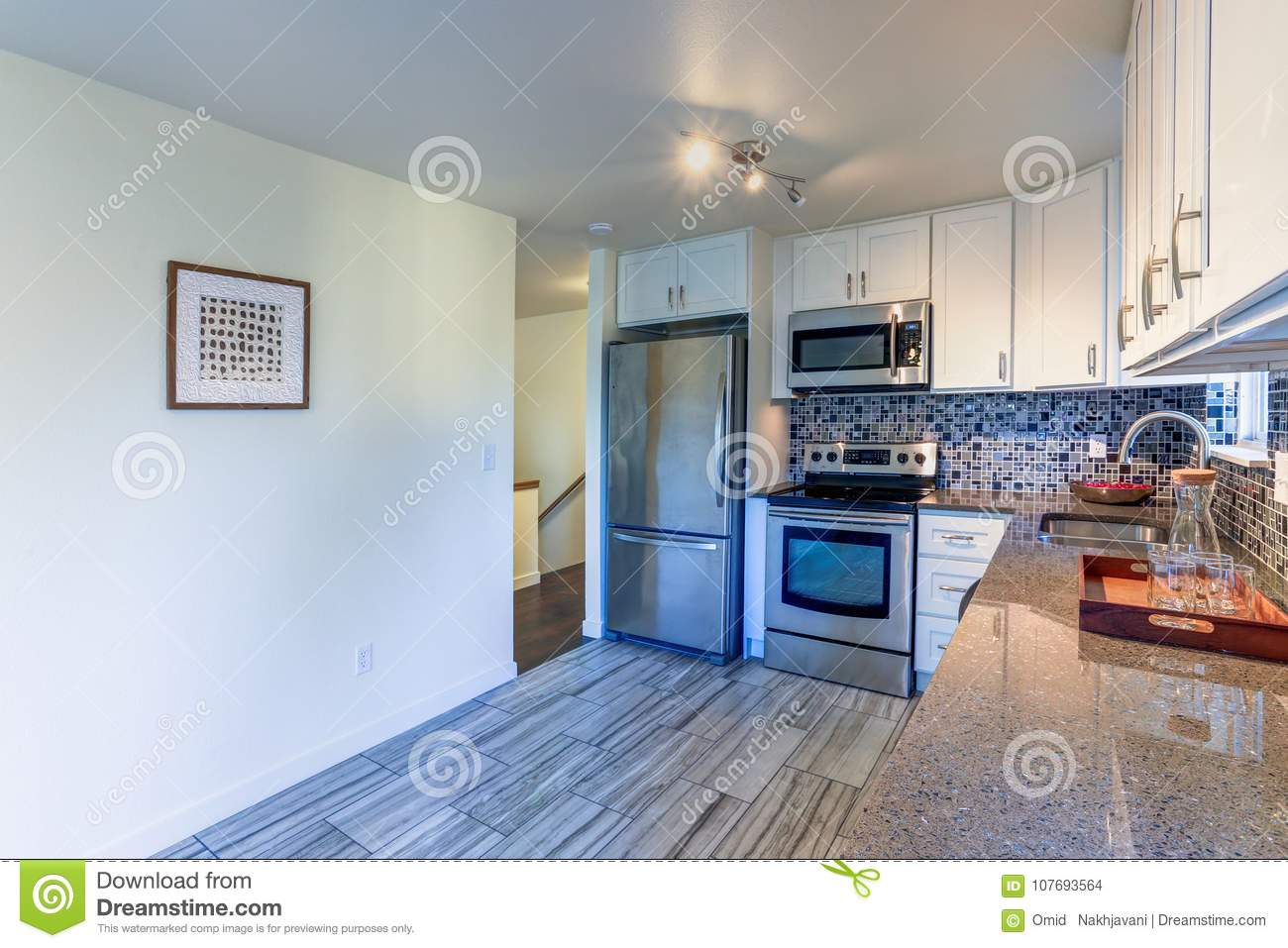 L-shape Kitchen Room Design Stock Photo - Image of interior, counter ...