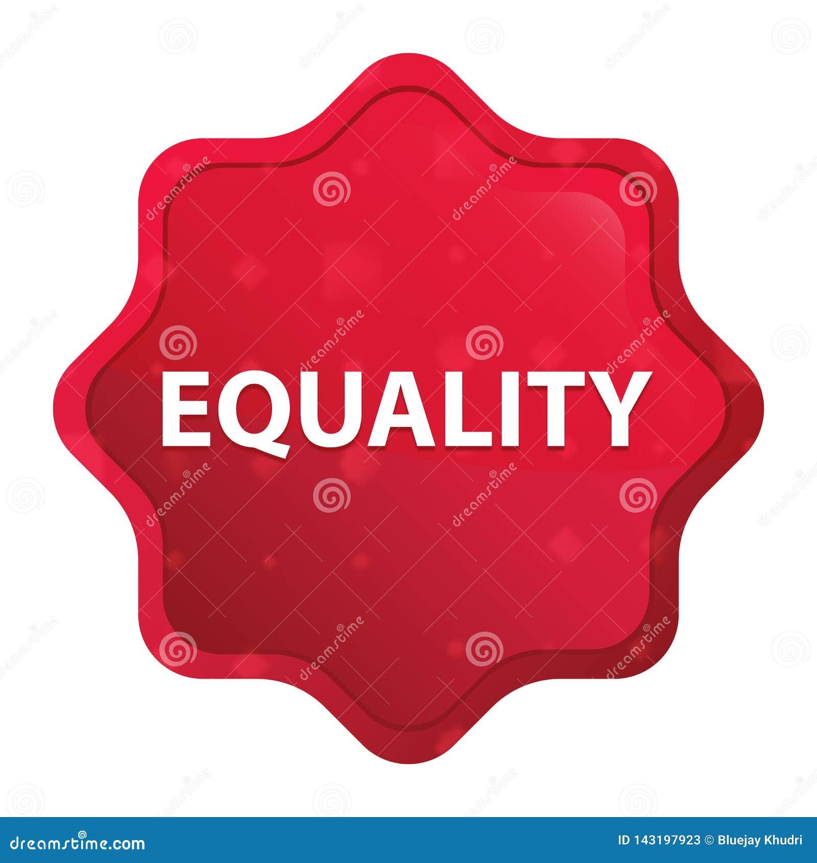 L uguaglianza nebbiosa è aumentato bottone rosso dell autoadesivo dello starburst
