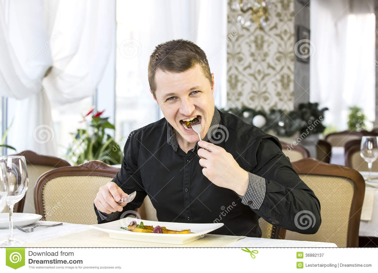 Download L'un giovane pranza immagine stock. Immagine di compleanno - 36882137