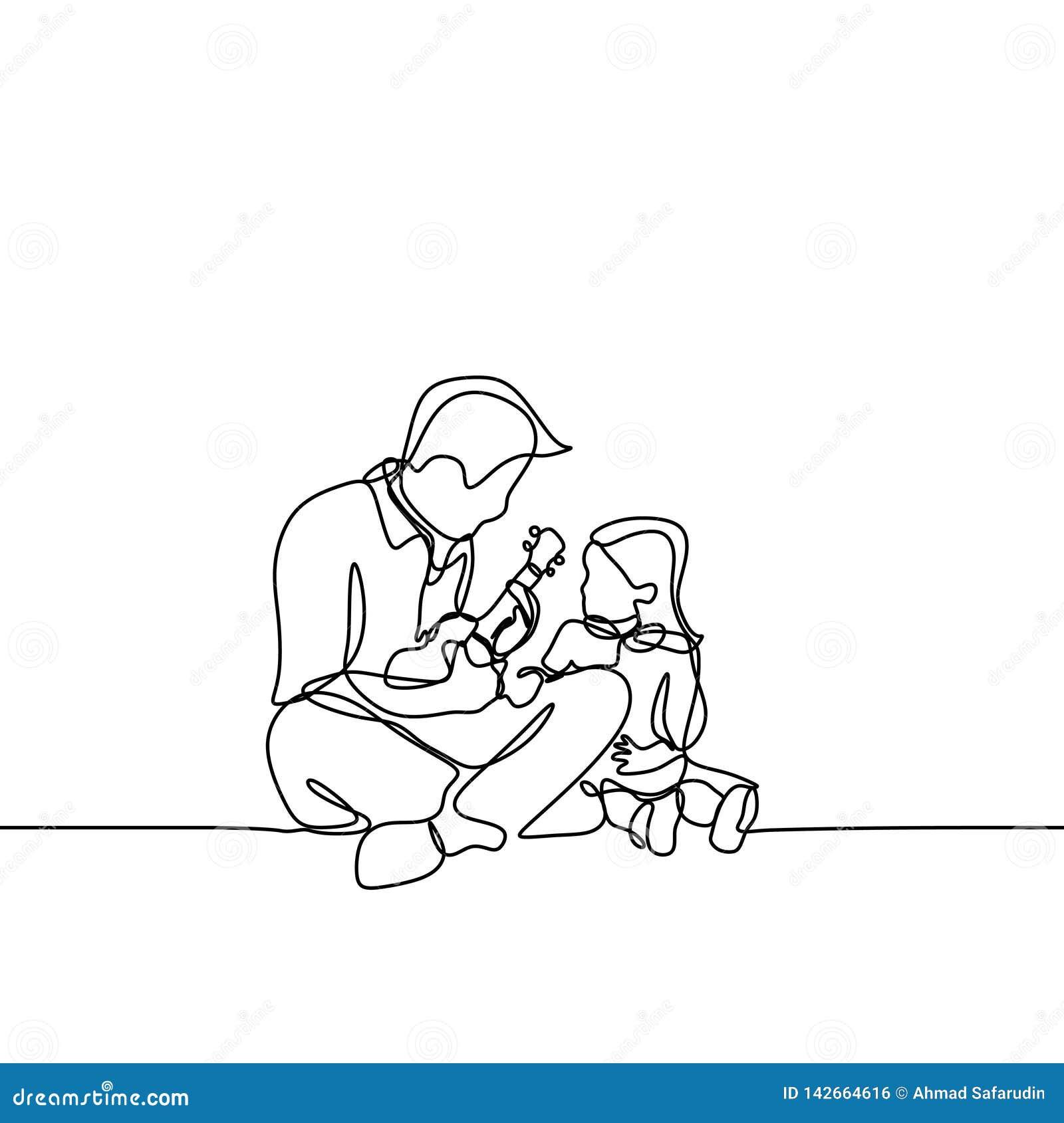 L une ligne tirée simple continue guitare de jeu de père et chantent une chanson à son image à la main dessinée par fille Schéma