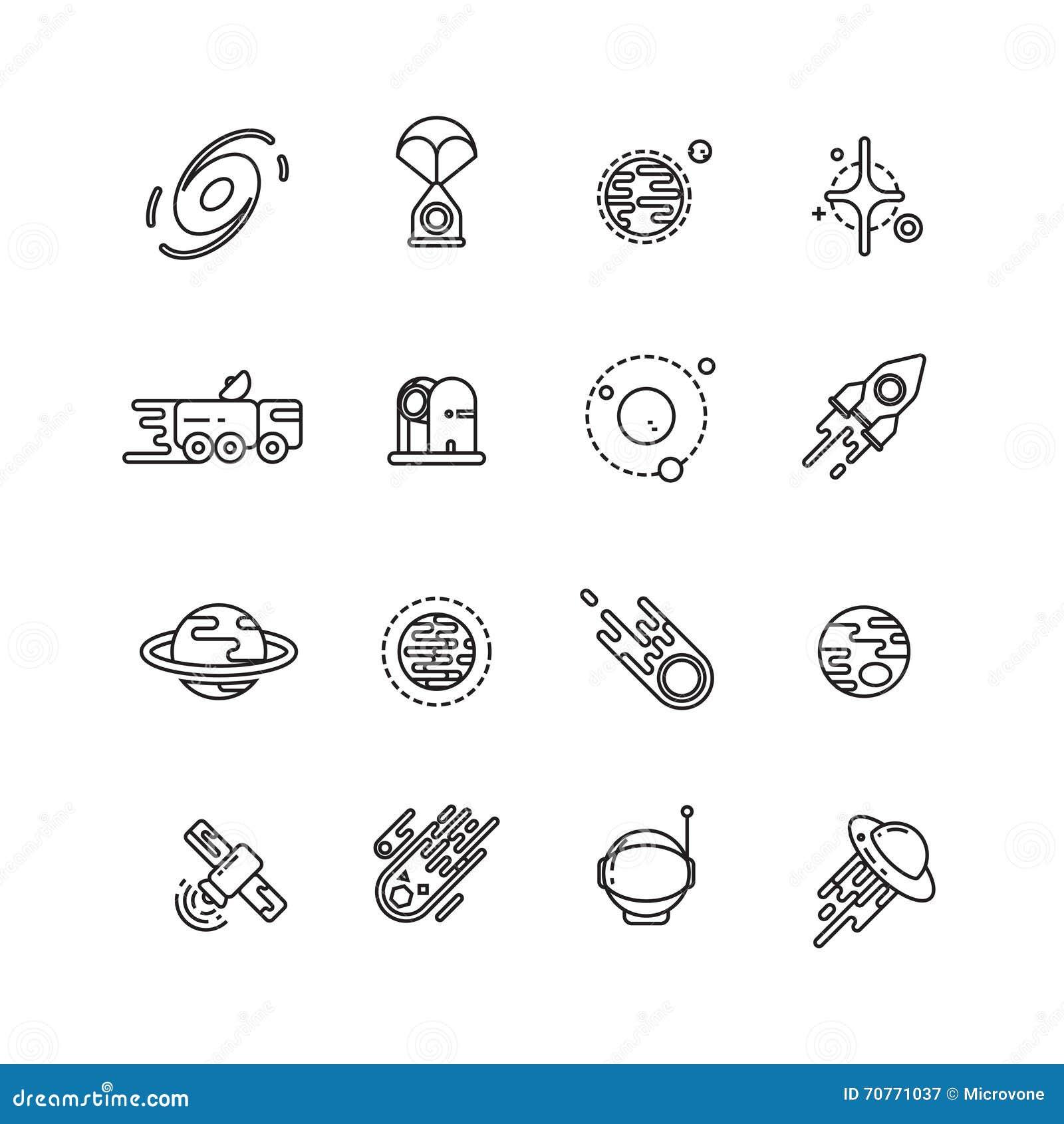 L universo, l astronomia e l astrologia spaziano la linea icone di vettore