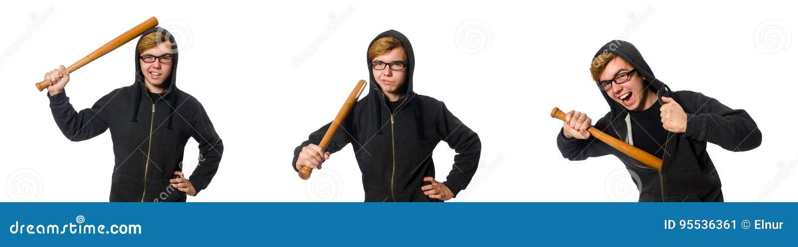 L uomo aggressivo con la mazza da baseball isolata su bianco