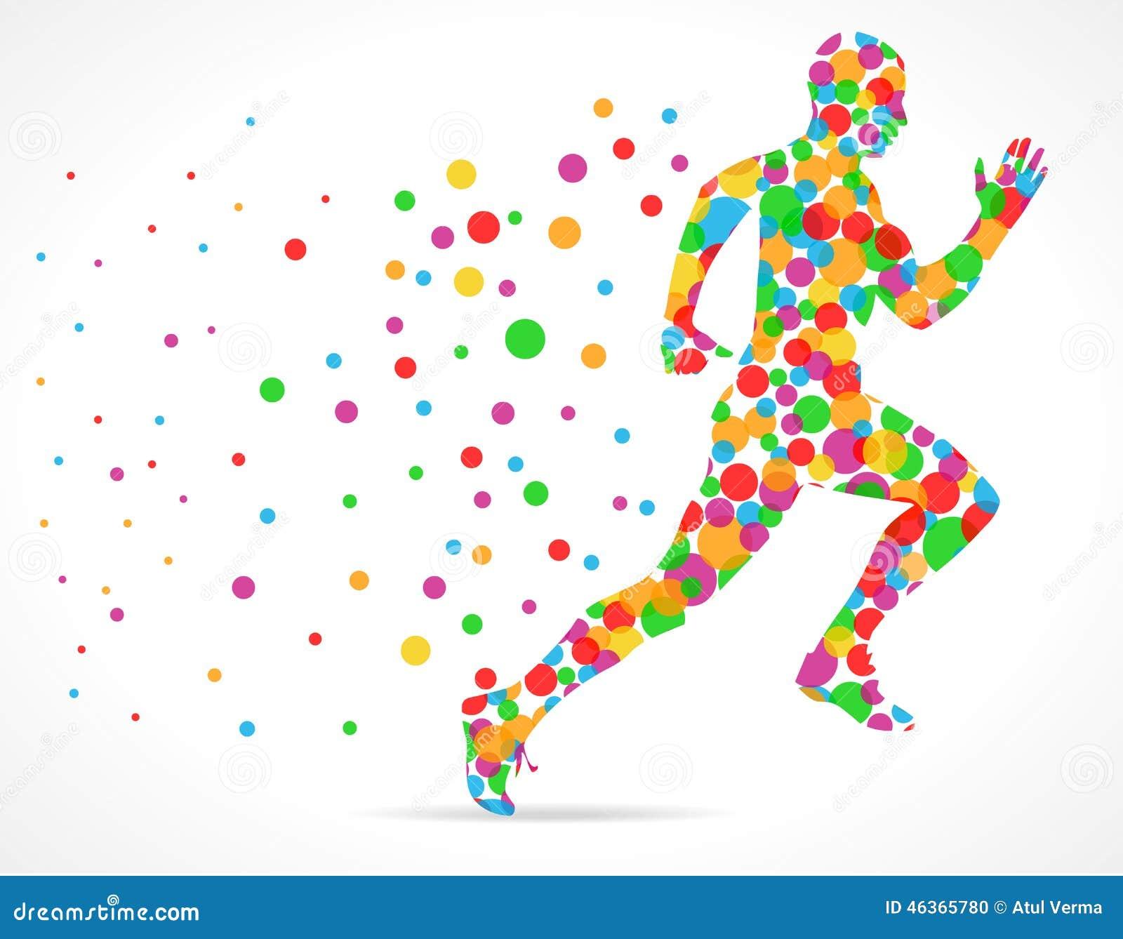 L uomo corrente con i cerchi di colore, sport equipaggia il funzionamento