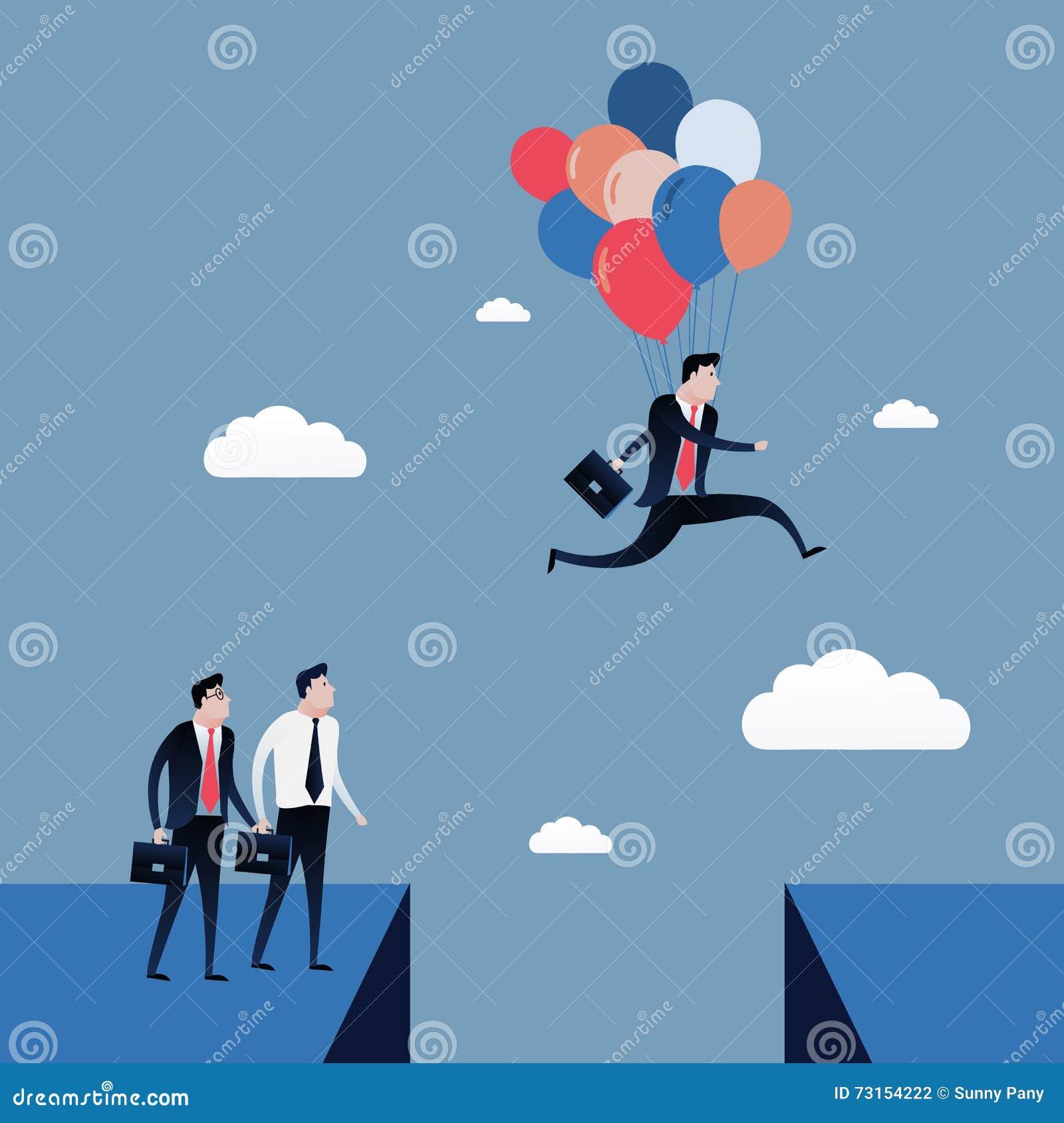 L uomo d affari che salta al cielo blu con i palloni vettore dell illustrazione di concetto di affari