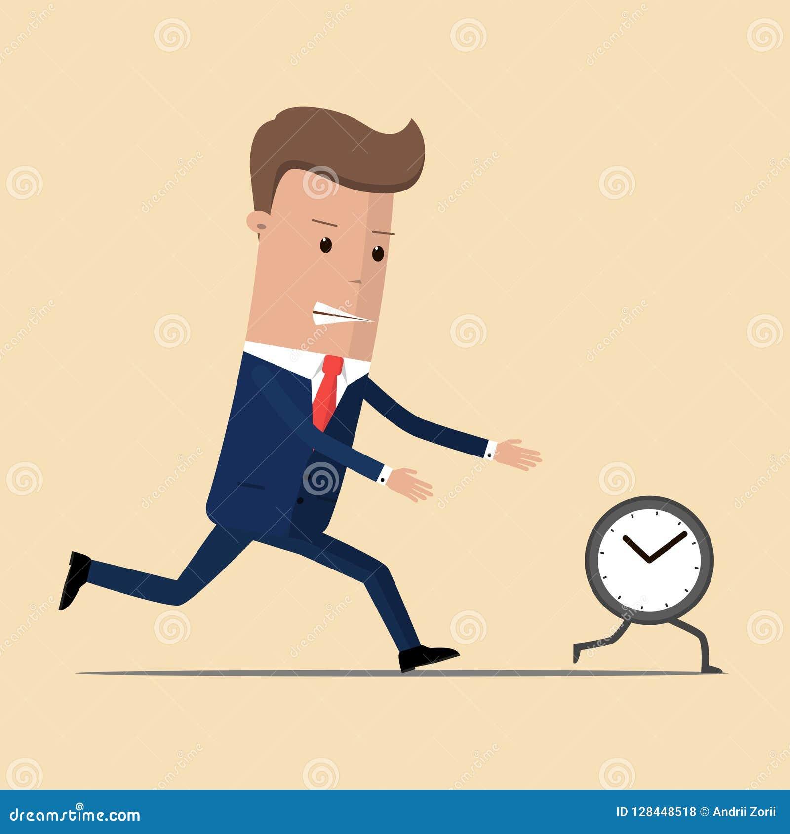 L uomo d affari esegue l orologio L uomo non sta al passo con i periodi Prova di prendere con le opportunità mancanti Illustrazio