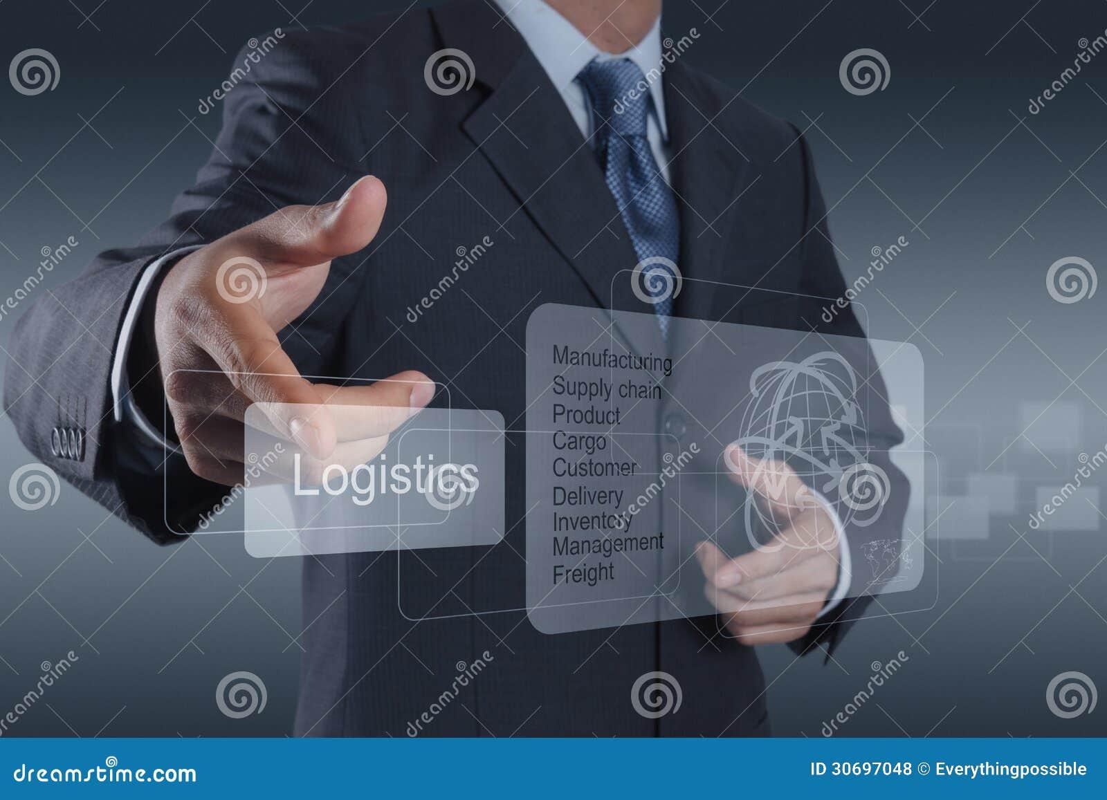 L uomo d affari mostra il diagramma di logistica come concetto