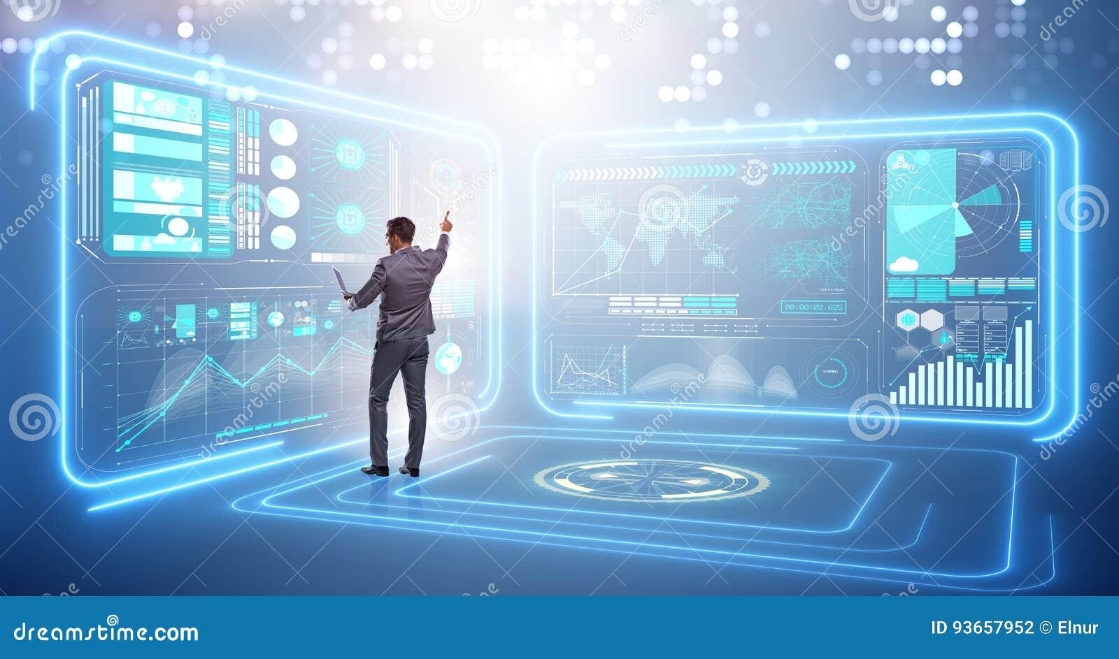 L uomo d affari nel grande concetto della gestione dei dati