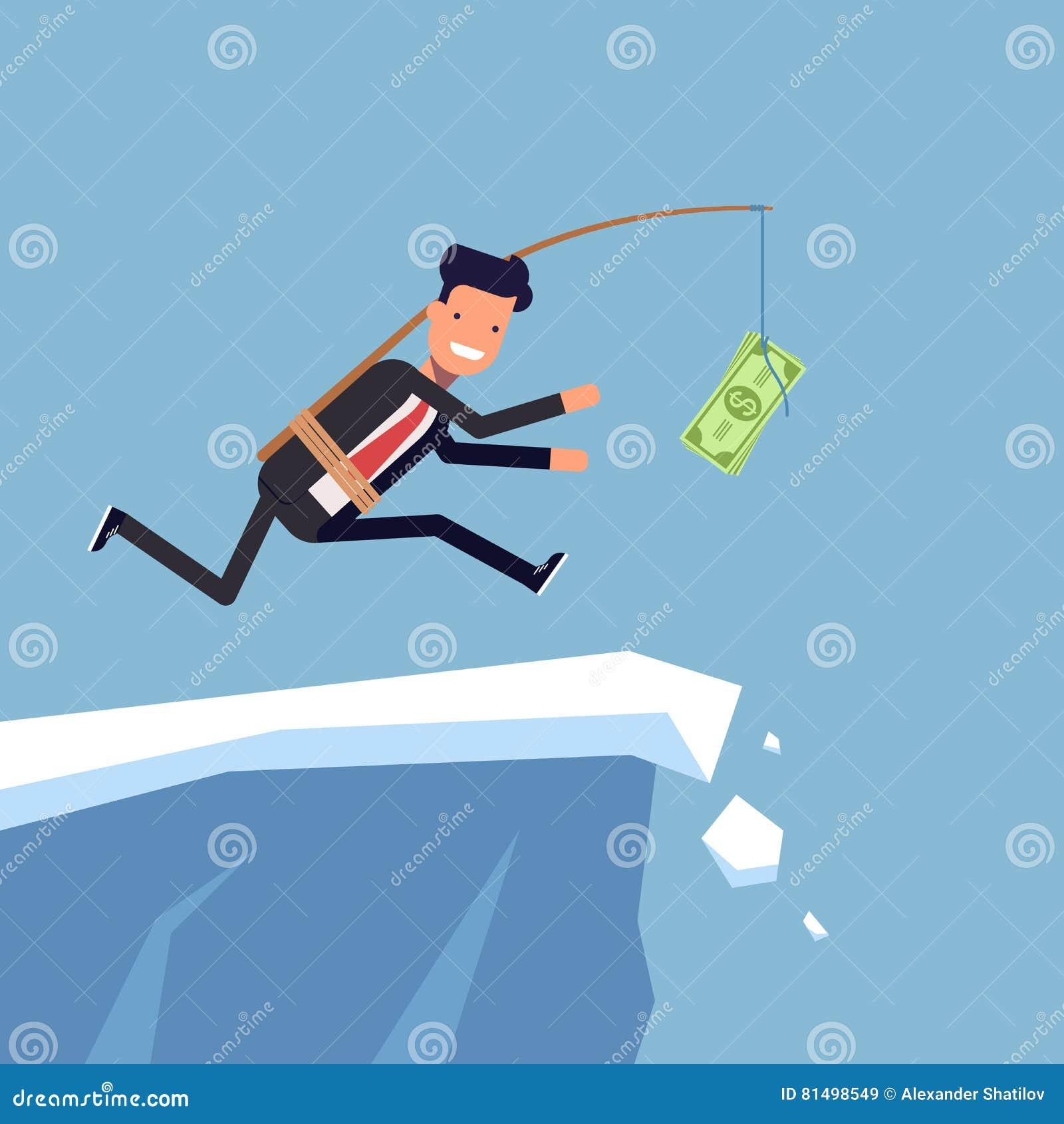L uomo d affari o il responsabile sta correndo dopo i soldi ad una scogliera ripida L uomo disattento in vestito va il bordo del