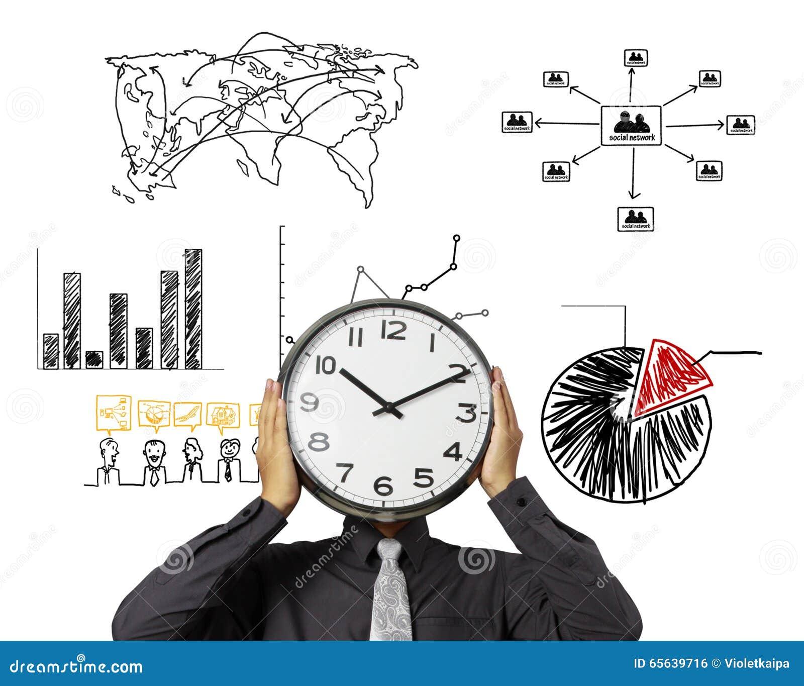 L uomo d affari sta tenendo l orologio della testa