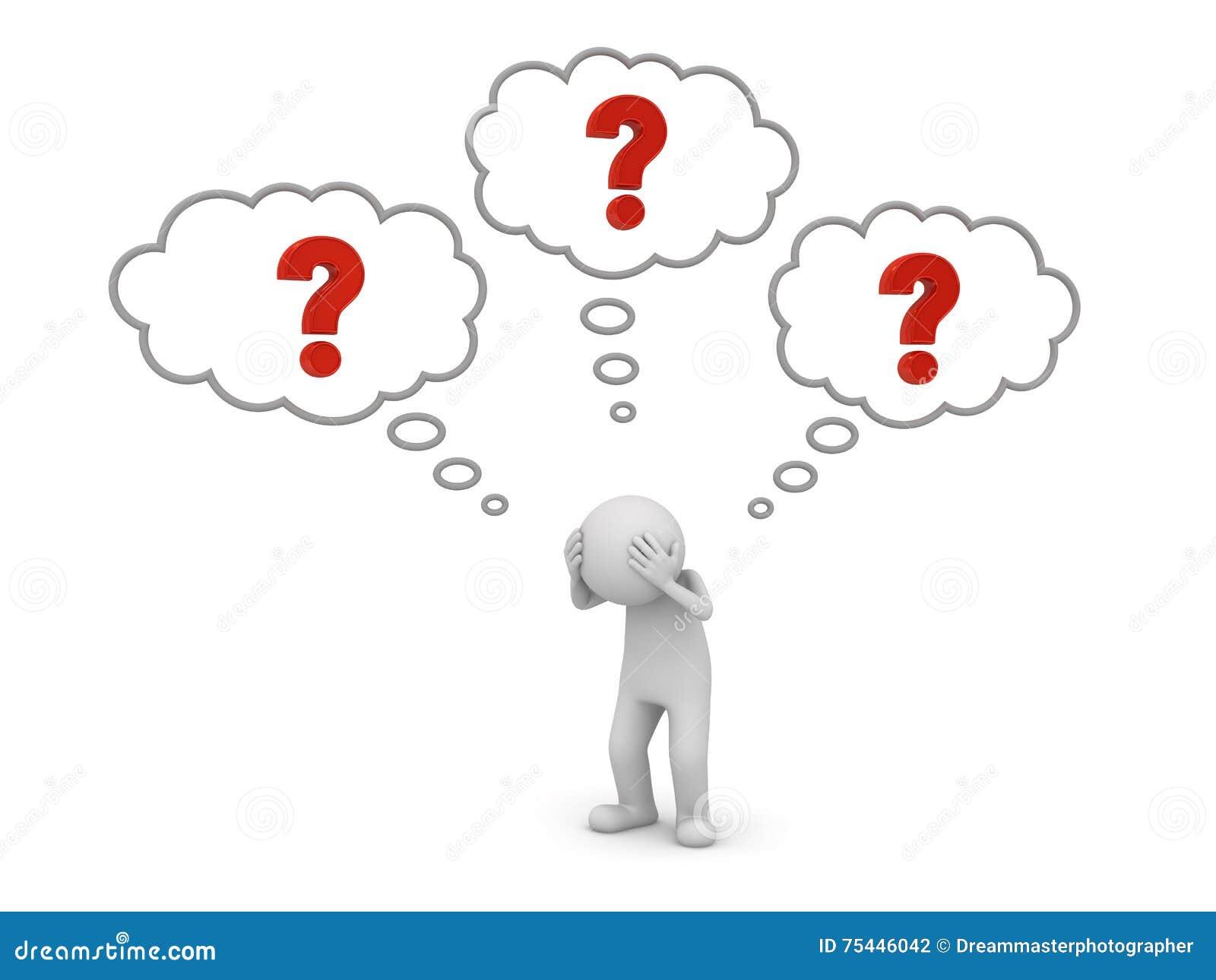 L uomo 3d che sta e che pensa con i punti interrogativi rossi nel pensiero bolle sopra il suo concetto capo