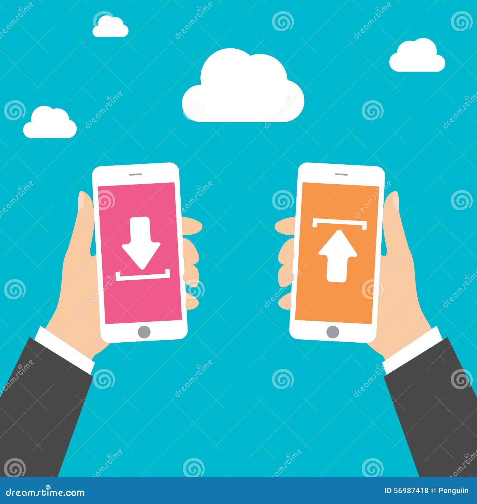 L uomo di affari passa lo Smart Phone della tenuta con il download e carica, vector l illustrazione