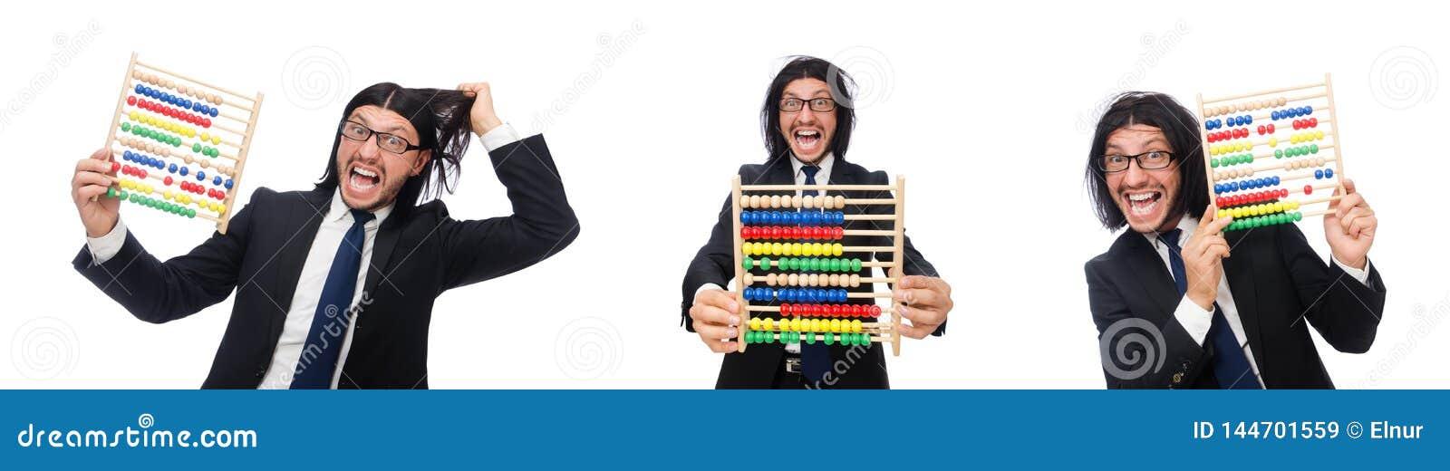 L uomo divertente con il calcolatore e l abaco