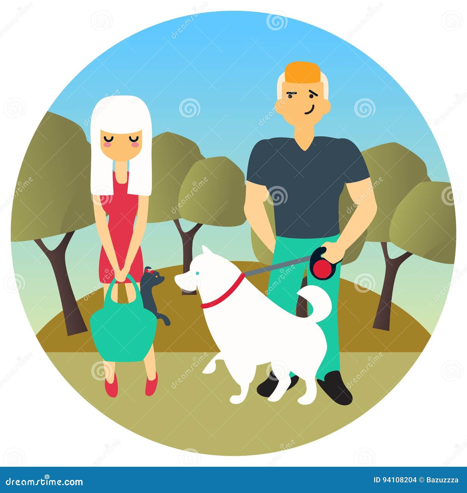 L uomo e la donna si sono incontrati in un parco mentre camminavano fuori cani I caratteri della gente del fumetto di vettore nel