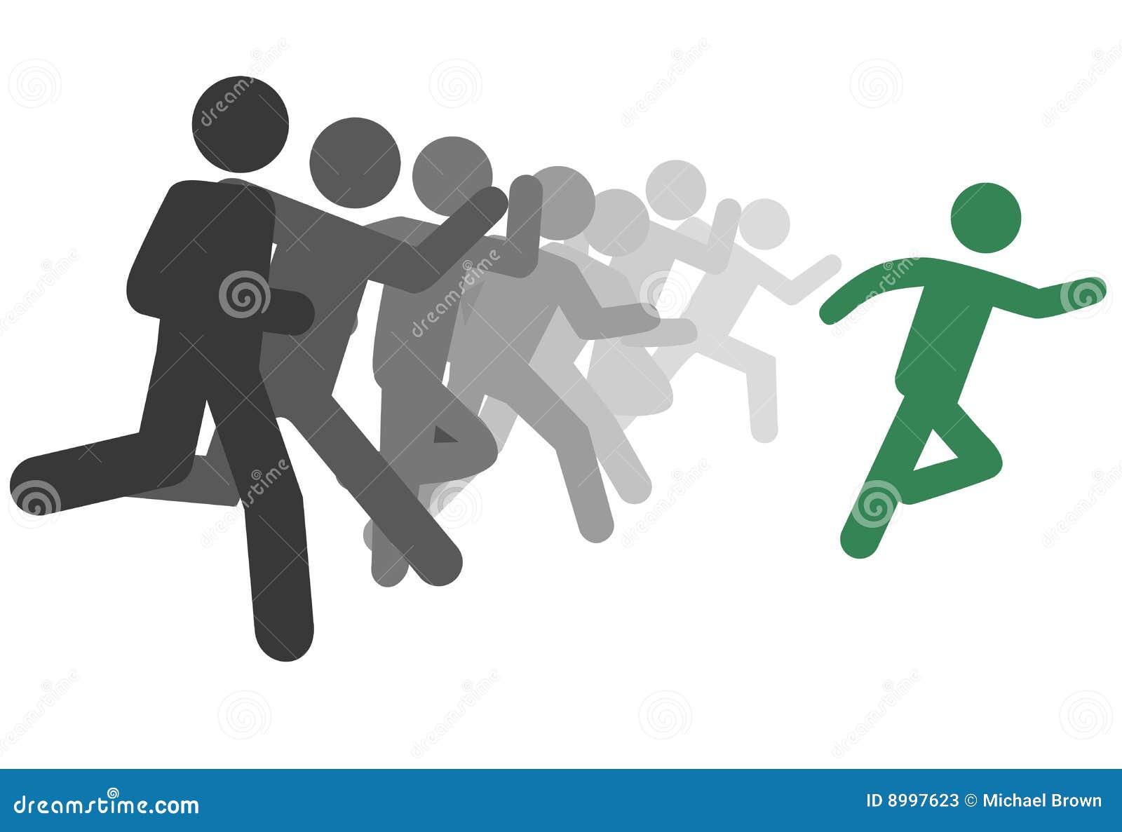 L uomo e la gente di simbolo eseguono una corsa o i cavi della guida