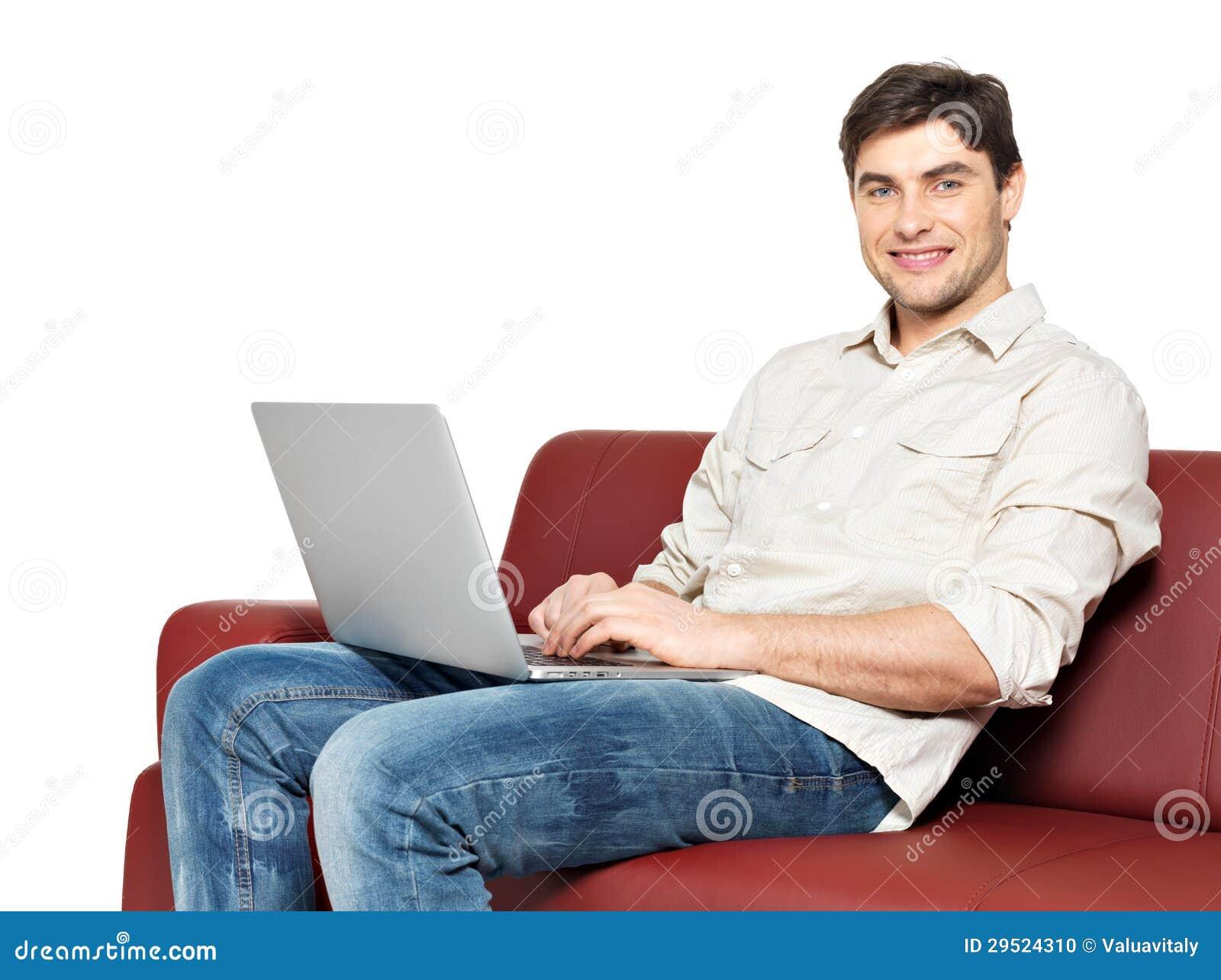 Luomo Felice Sorridente Con Il Computer Portatile Si ...