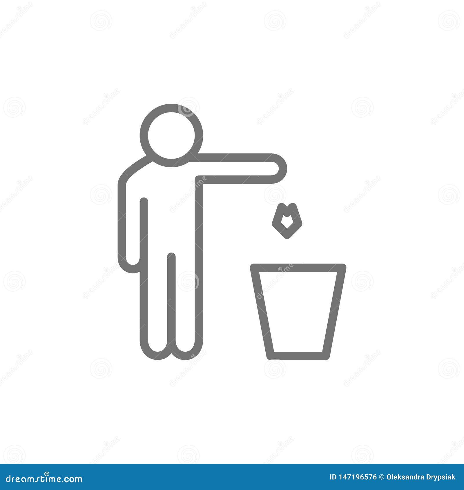 L uomo getta fuori lo spreco, linea icona dei rifiuti