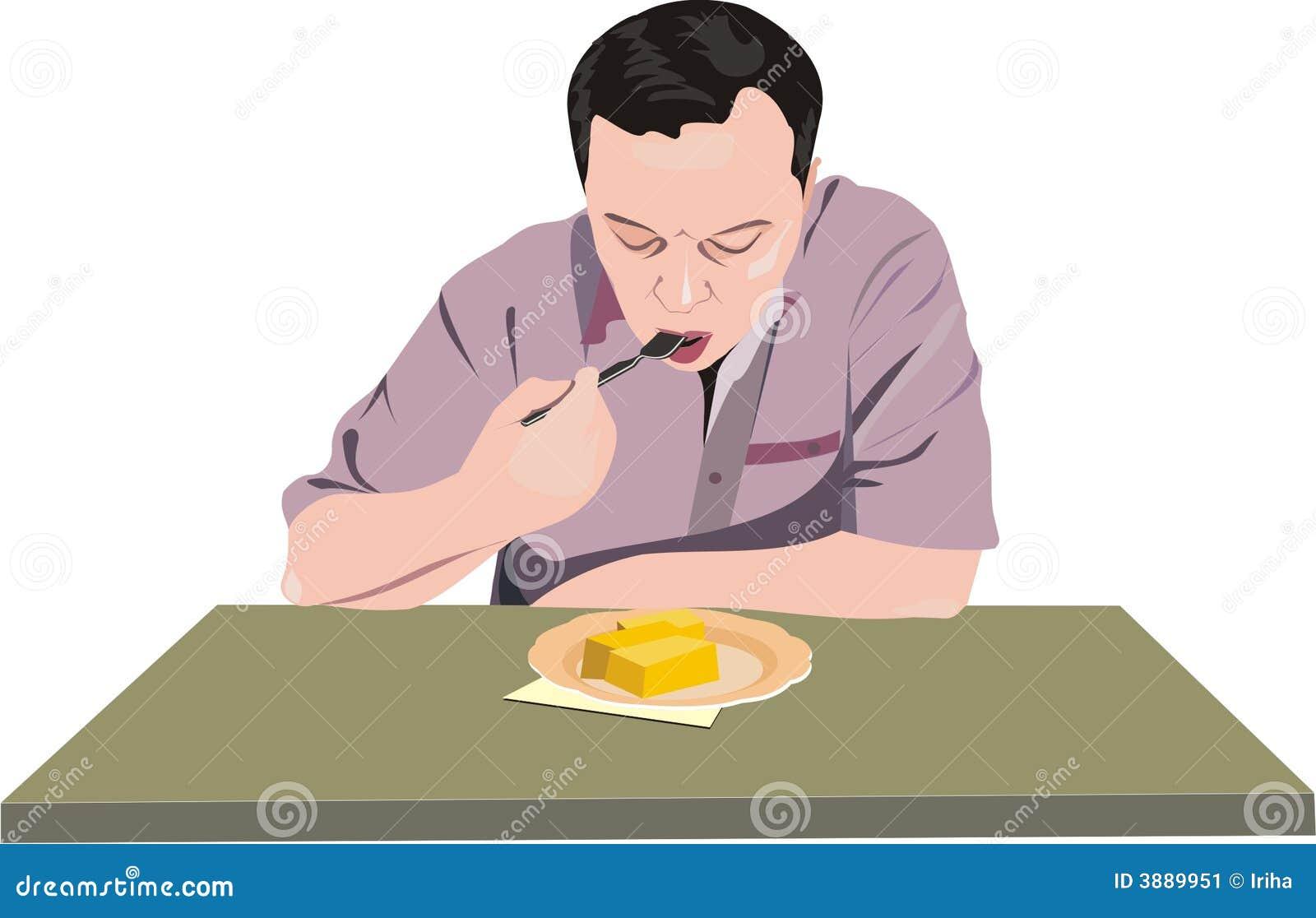 L uomo ha pranzo.
