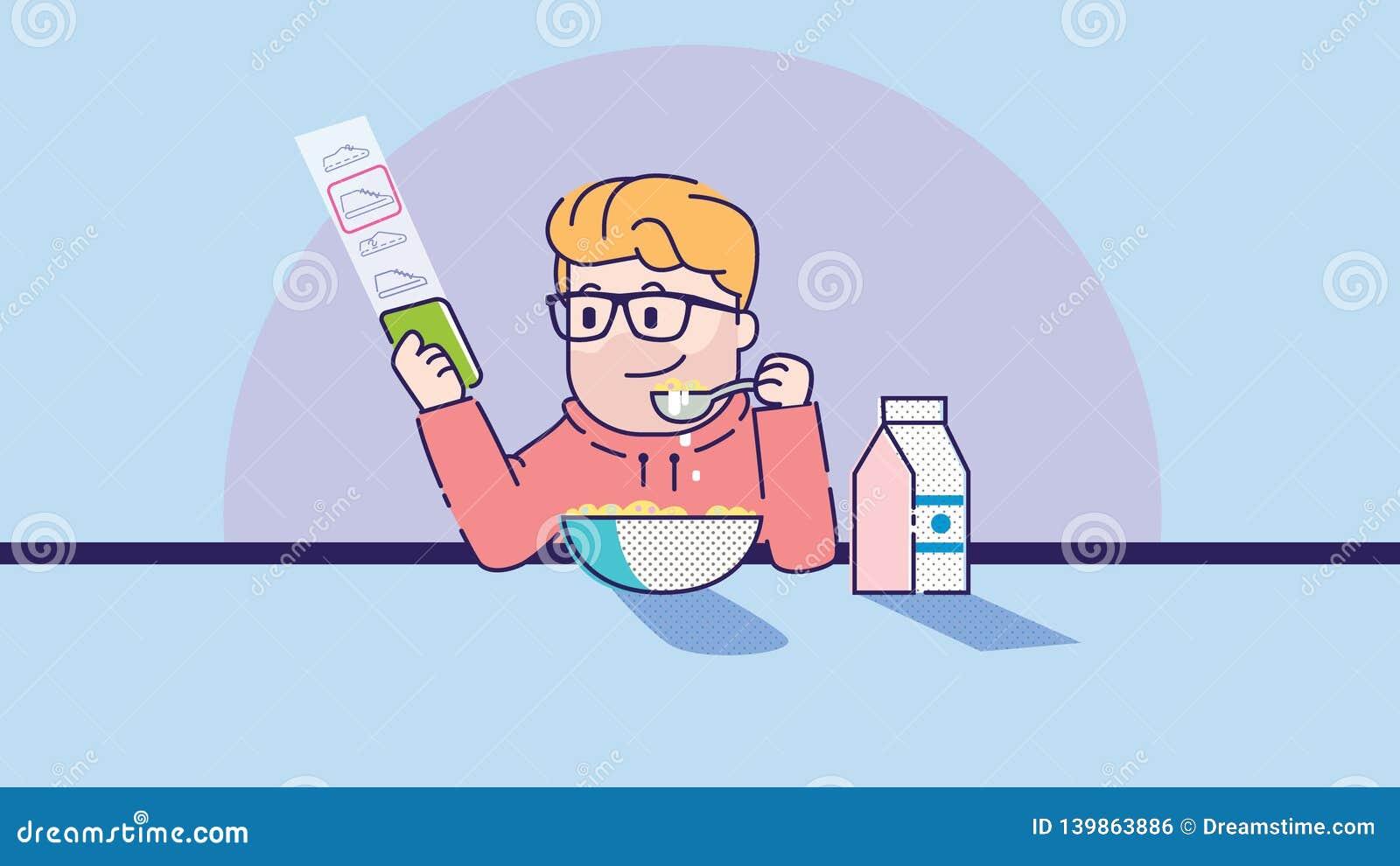 L uomo mangia il porridge Illustrazione di arte