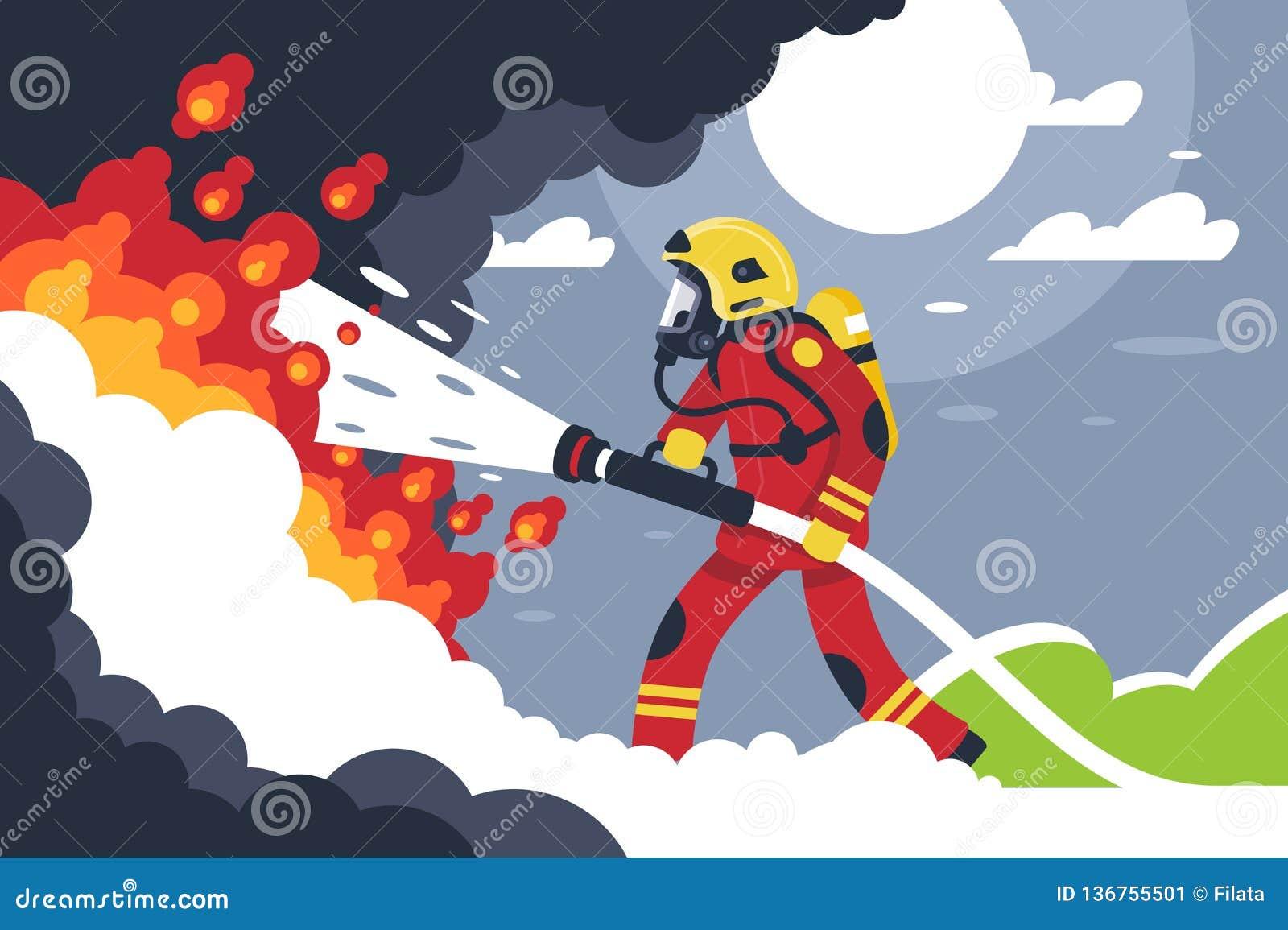 L uomo piano di estinzione di incendio mette fuori il fuoco