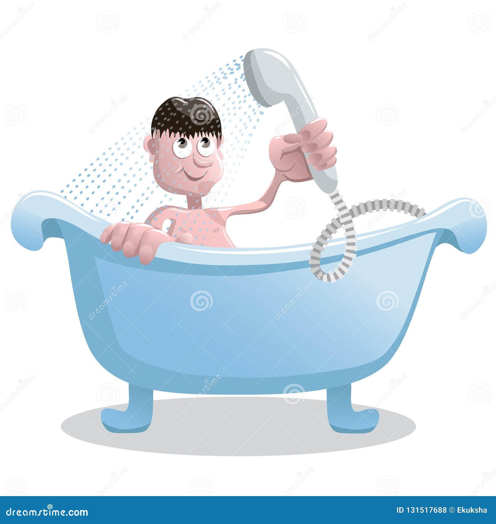 L uomo prende una doccia nel bagno