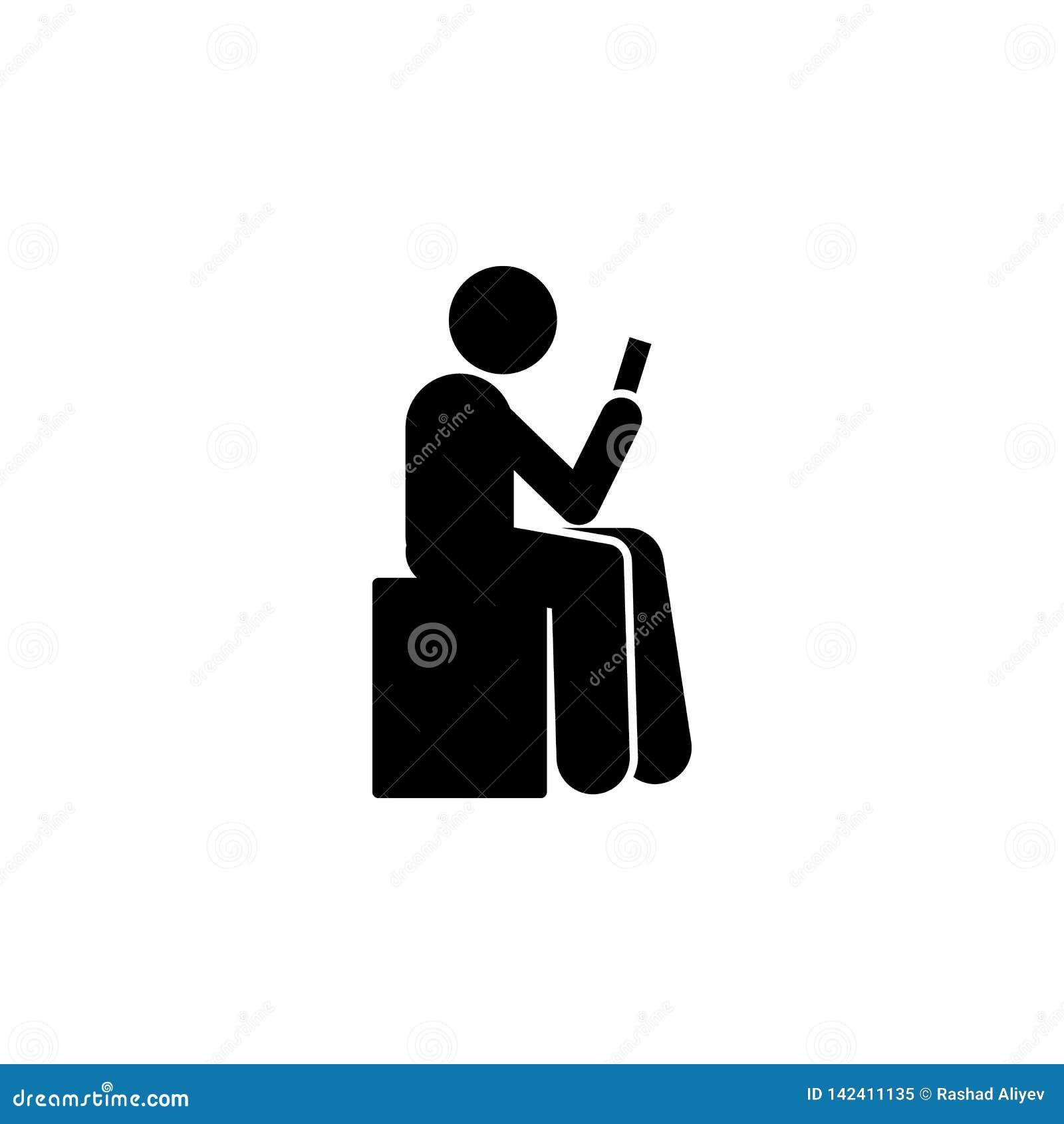 L uomo, si siede, usa l icona del telefono Elemento del telefono umano di uso Icona premio di progettazione grafica di qualità Se