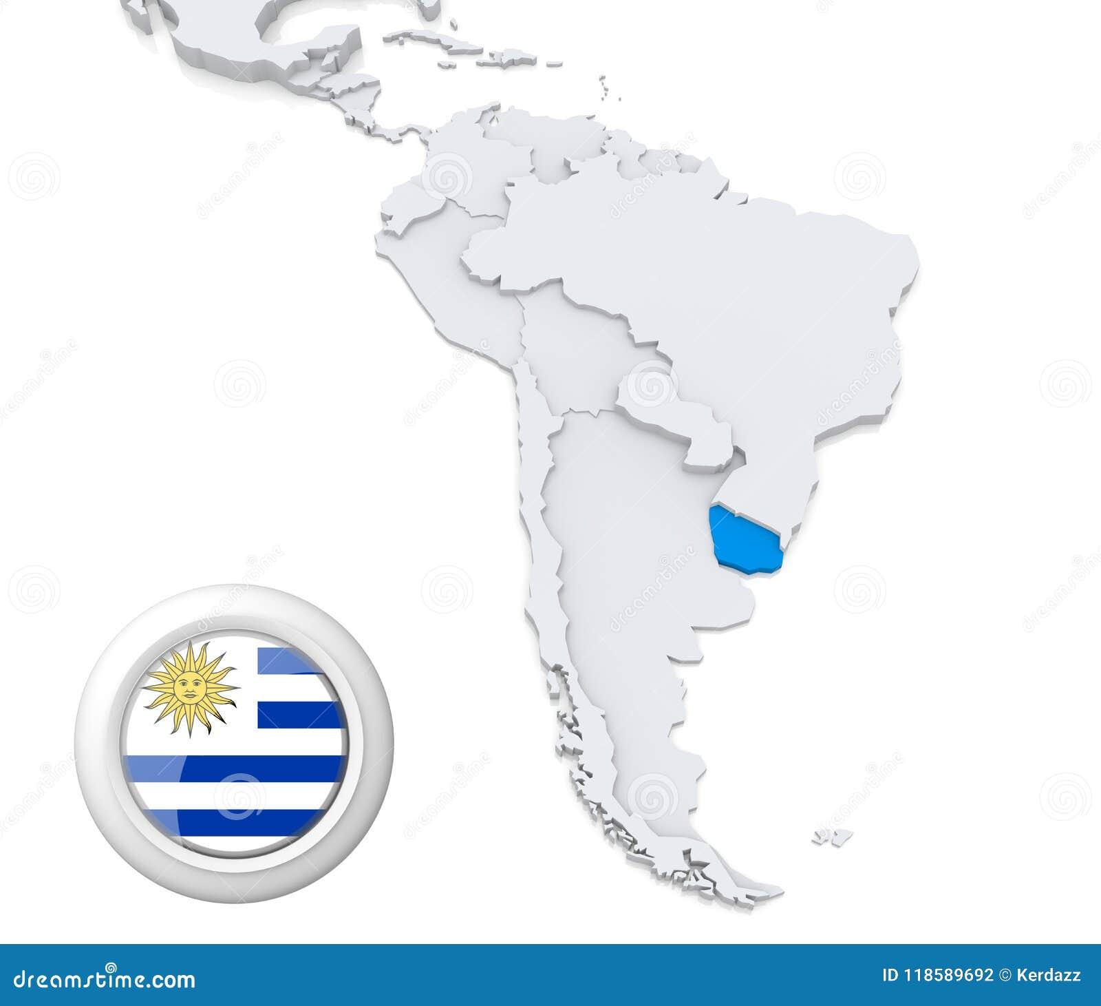 Carte Amerique Latine Uruguay.L Uruguay Sur Une Carte De L Amerique Du Sud Illustration Stock