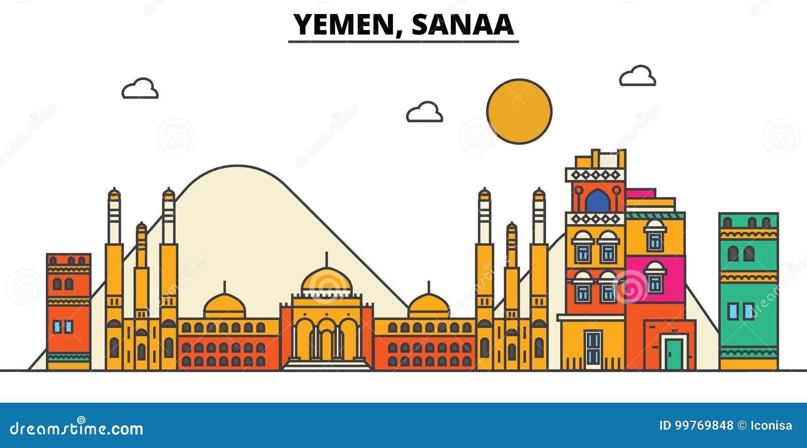 L Yemen, Sanaa Architettura dell orizzonte della città editable