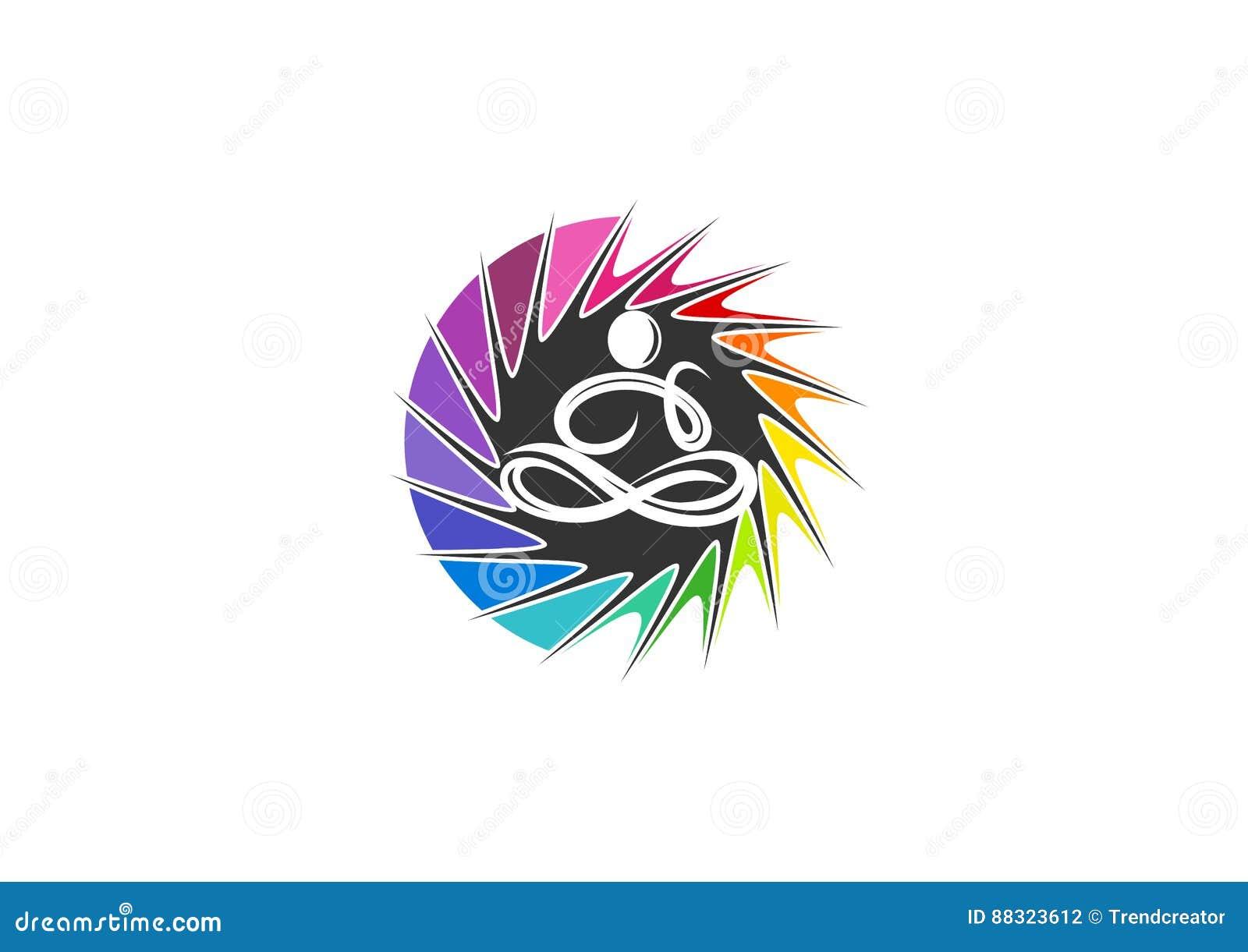 L yoga, logo, si rilassa, firma, sensazione, icona, sensibilità, la gente, meditazione, stile di vita, benessere e progettazione