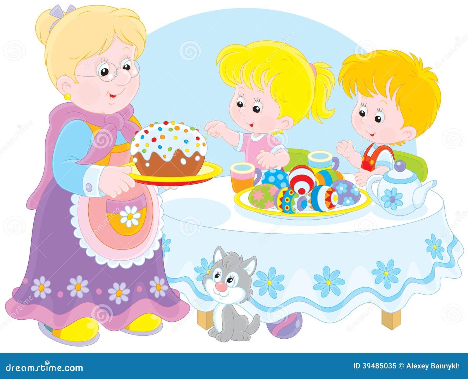 La abuelita y los nietos celebran Pascua