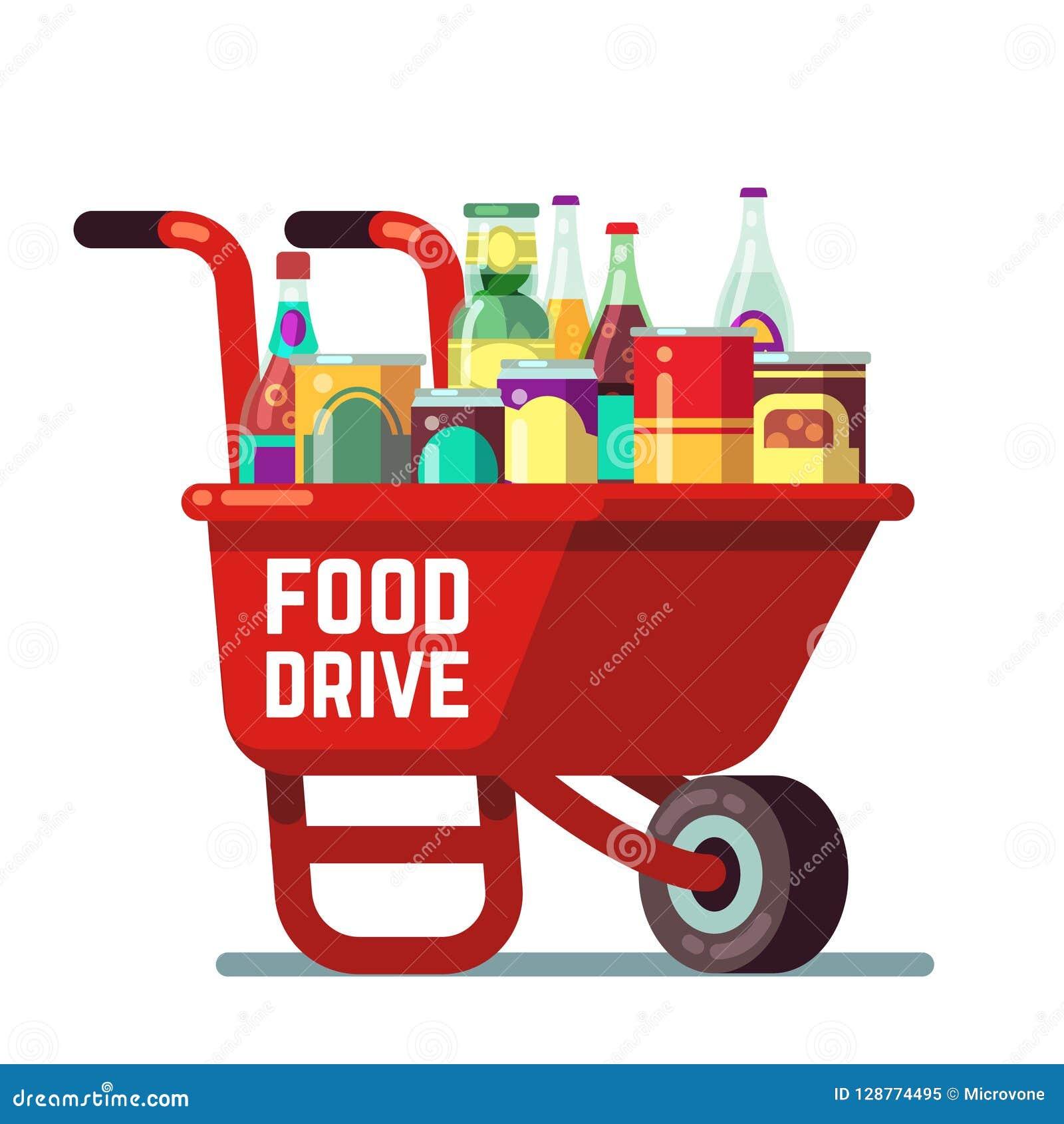 La acción de gracias del banco de la impulsión de la comida y la donación del día de fiesta de la Navidad vector concepto Carreti